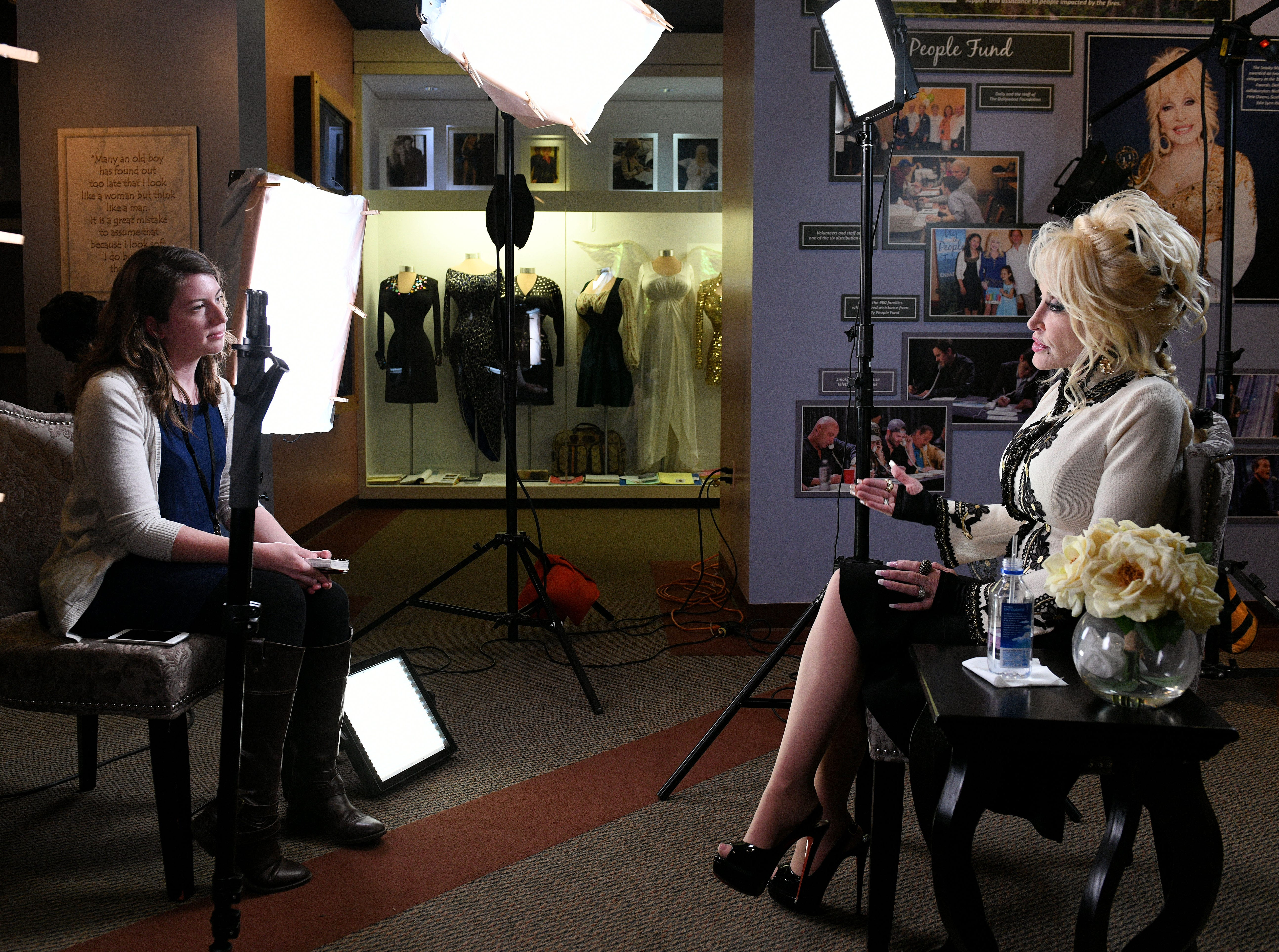 "News Sentinel reporter Maggie Jones interviewing Dolly Parton who was in town to help launch Dollywood's ""Season of Showstoppers"" with a special preview for media and season passholders Friday, Mar. 16, 2018."