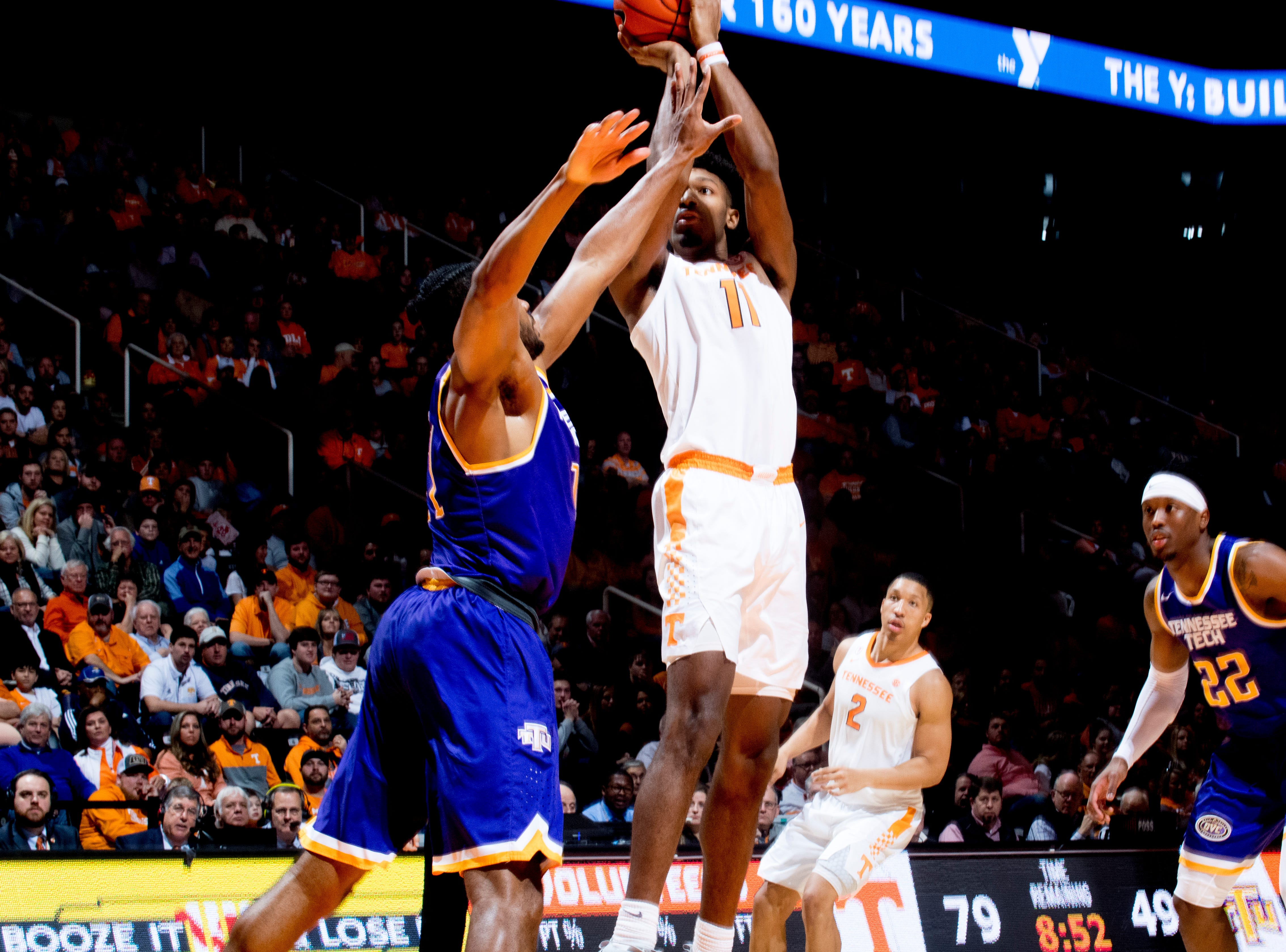 Tennessee forward Kyle Alexander (11) shoots the ball during a game between Tennessee and Tennessee Tech at Thompson-Boling Arena in Knoxville, Tennessee on Saturday, December 29, 2018.