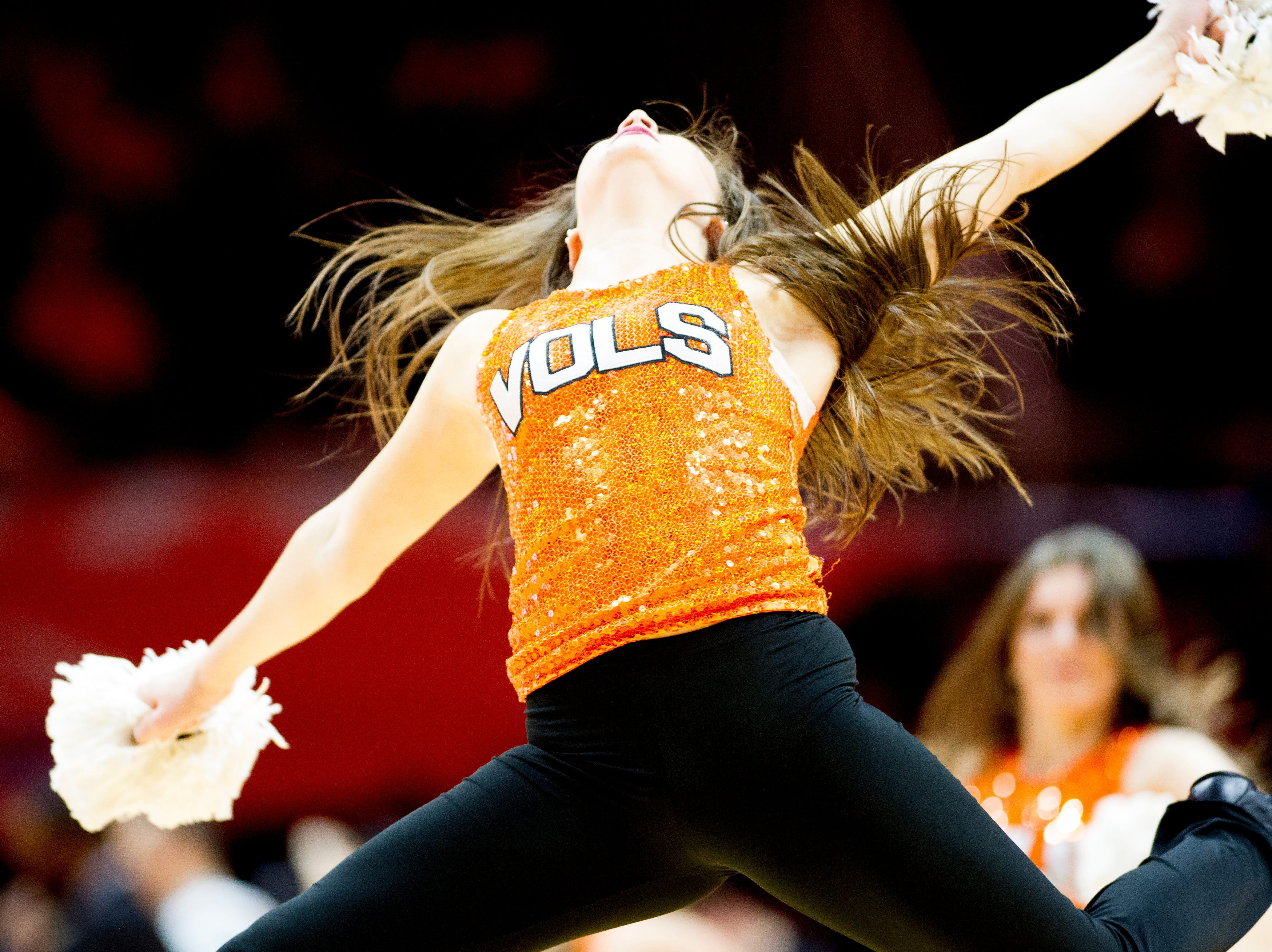 A Tennessee Dance Team member performs during a game between the Tennessee Lady Vols and Murray State at Thompson-Boling Arena in Knoxville, Tennessee on Friday, December 28, 2018.