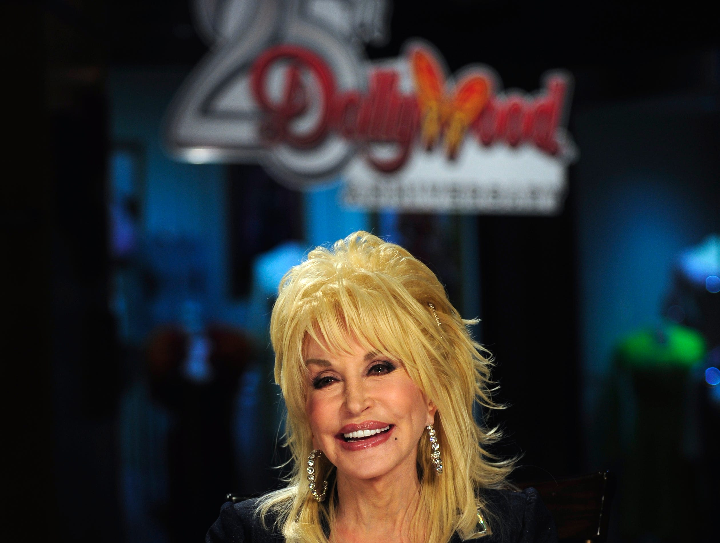 Dolly Parton gives an interview at Dollywood Mar. 26, 2010. Parton was in town to celebrate the park's 25th anniversary.