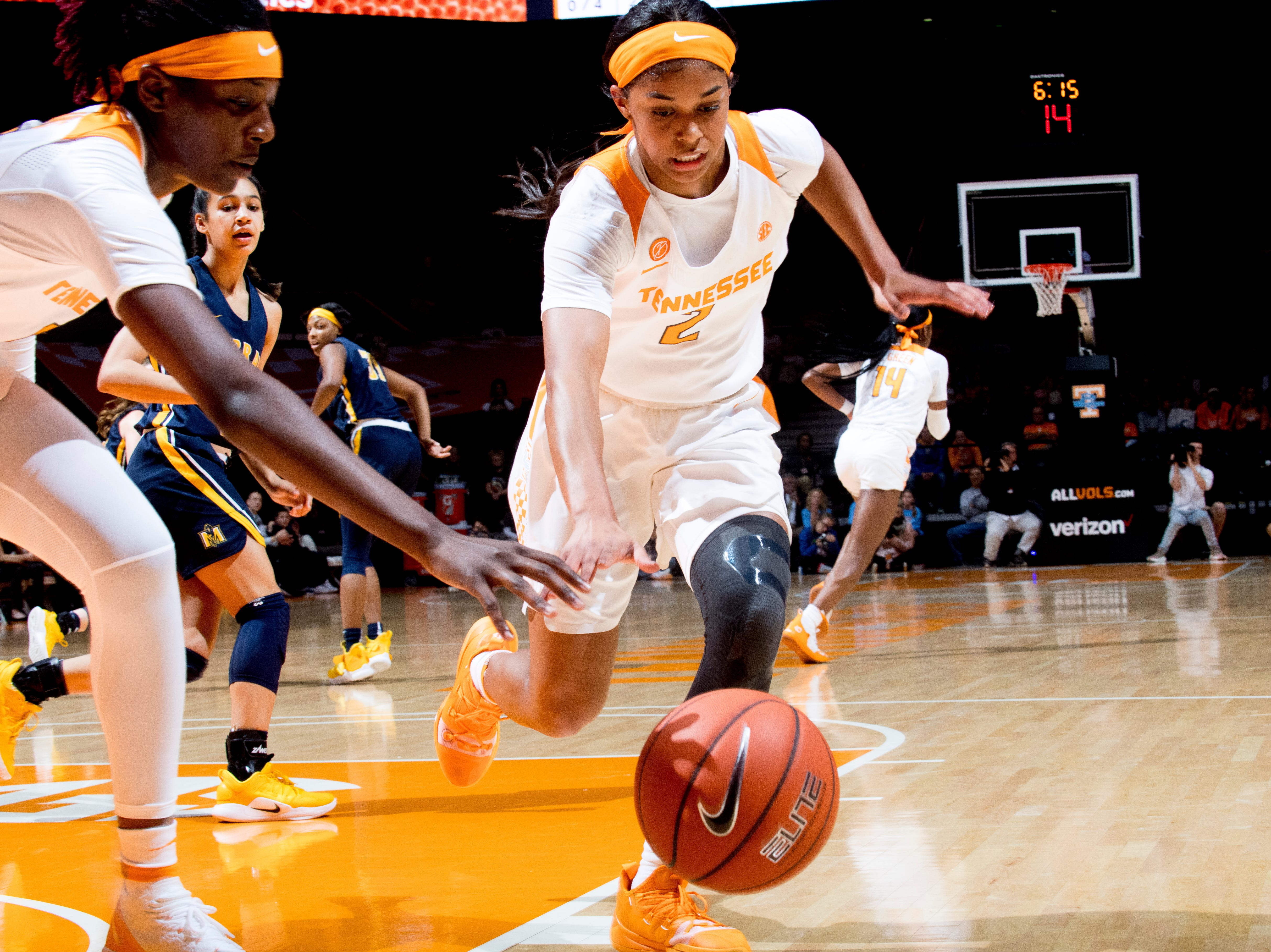 Tennessee guard Evina Westbrook (2) chases a loose ball during a game between the Tennessee Lady Vols and Murray State at Thompson-Boling Arena in Knoxville, Tennessee on Friday, December 28, 2018.