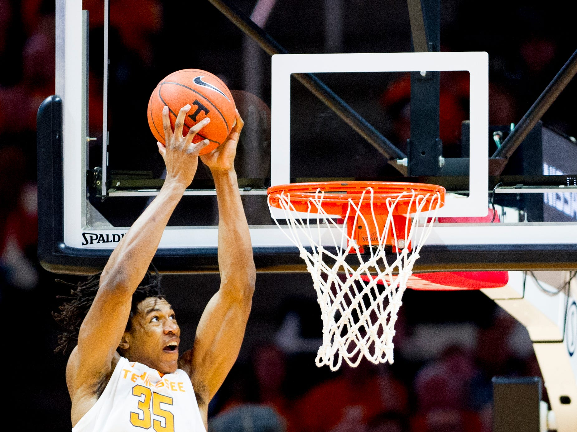 Tennessee guard/forward Yves Pons (35) dunks during a game between Tennessee and Tennessee Tech at Thompson-Boling Arena in Knoxville, Tennessee on Saturday, December 29, 2018.