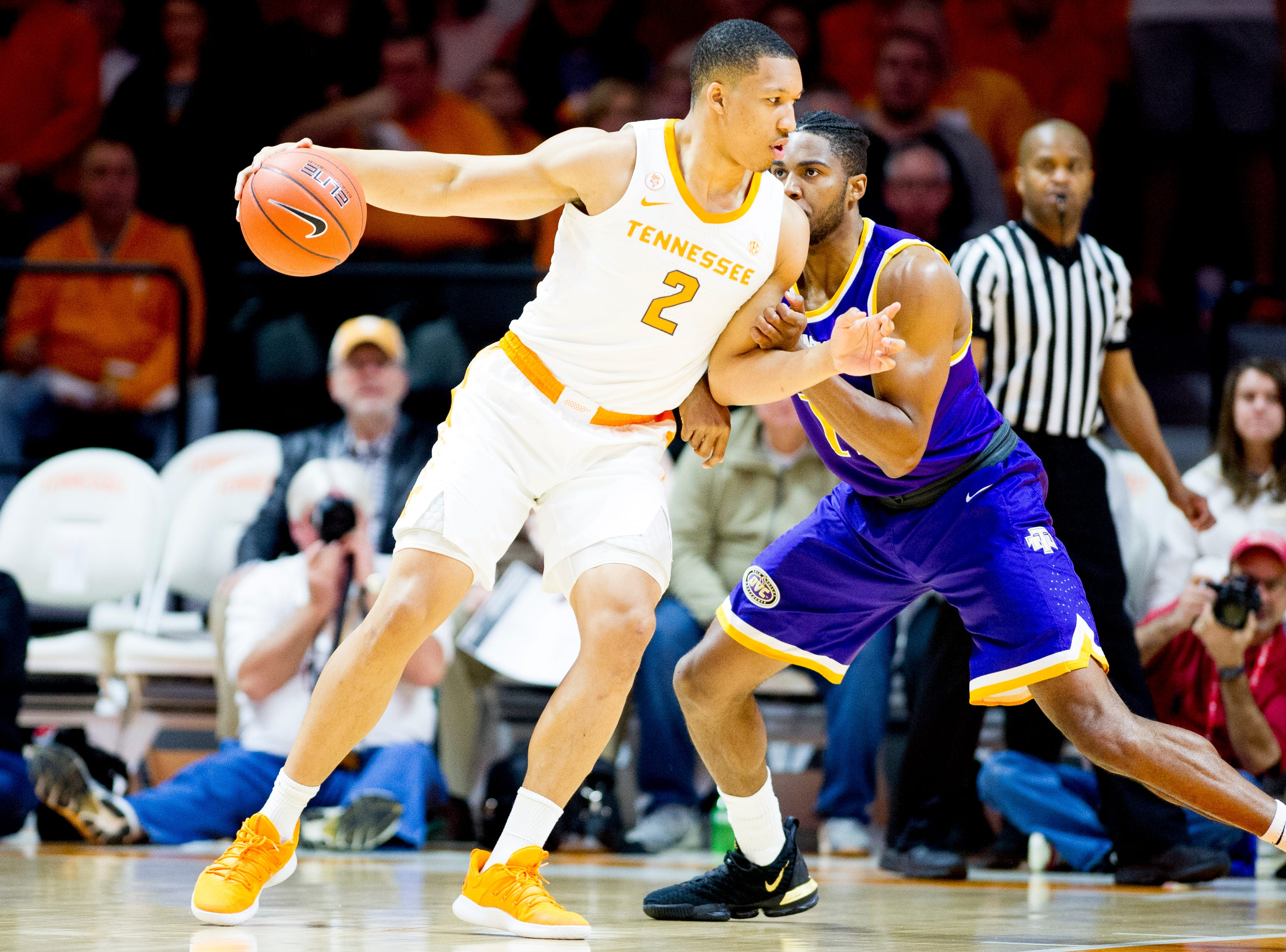 Tennessee's Grant Williams (2) tries to push toward the basket during a game between Tennessee and Tennessee Tech at Thompson-Boling Arena in Knoxville, Tennessee on Saturday, December 29, 2018.
