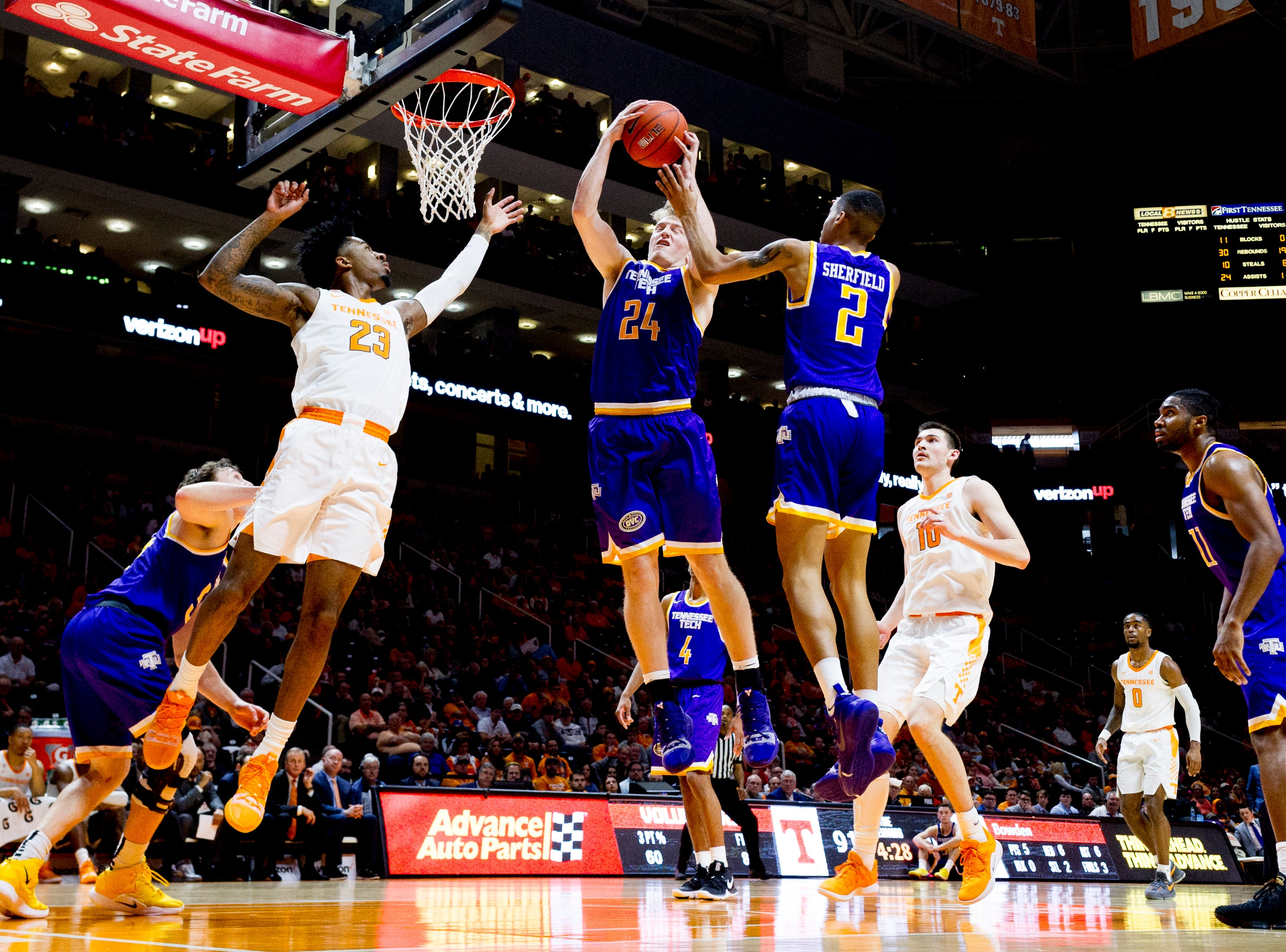 Tennessee Tech forward Garrett Golday (24) grabs the rebound ball during a game between Tennessee and Tennessee Tech at Thompson-Boling Arena in Knoxville, Tennessee on Saturday, December 29, 2018.