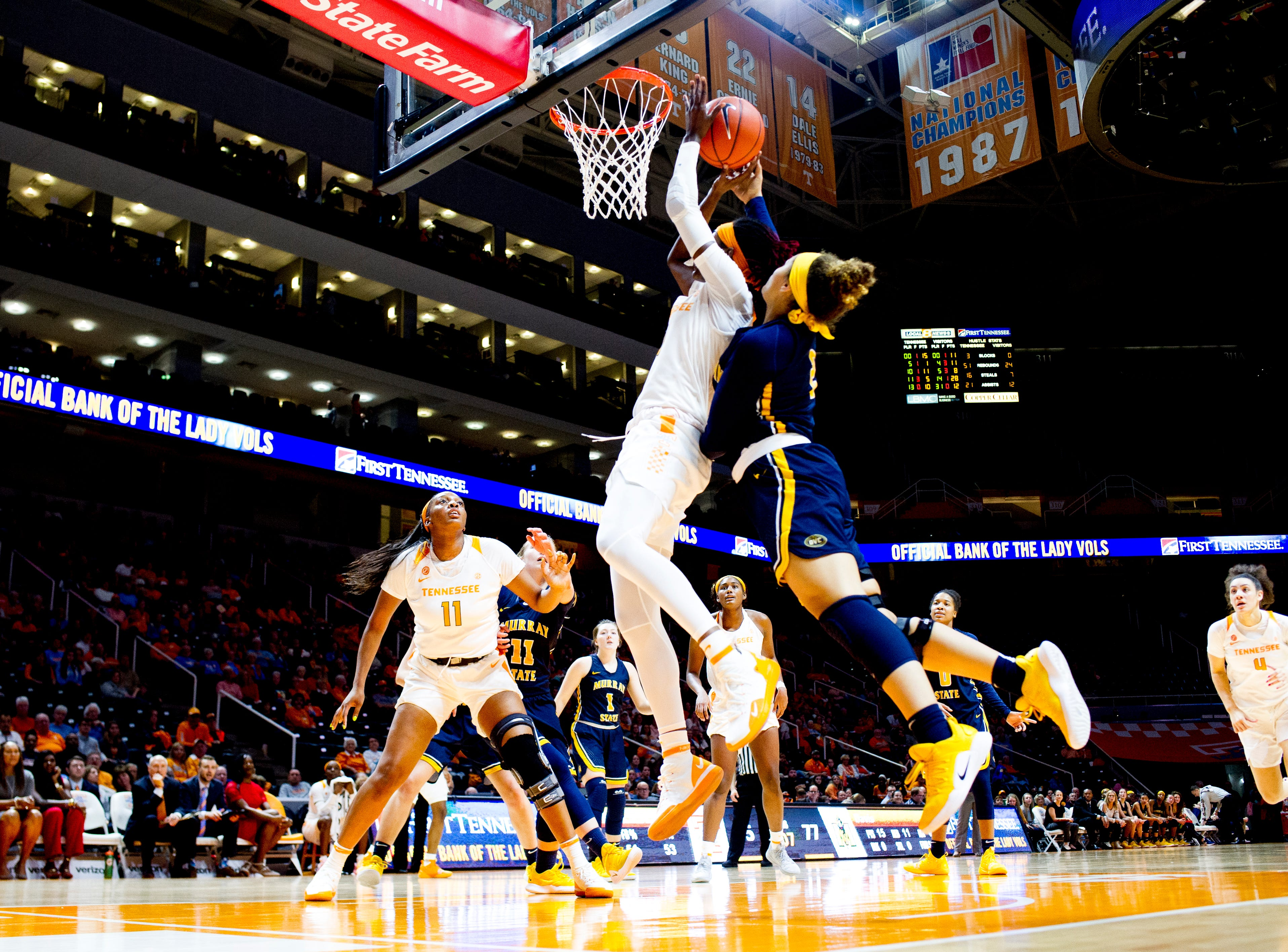 Tennessee guard/forward Rennia Davis (0) shoots a layup as Murray State defends during a game between the Tennessee Lady Vols and Murray State at Thompson-Boling Arena in Knoxville, Tennessee on Friday, December 28, 2018.