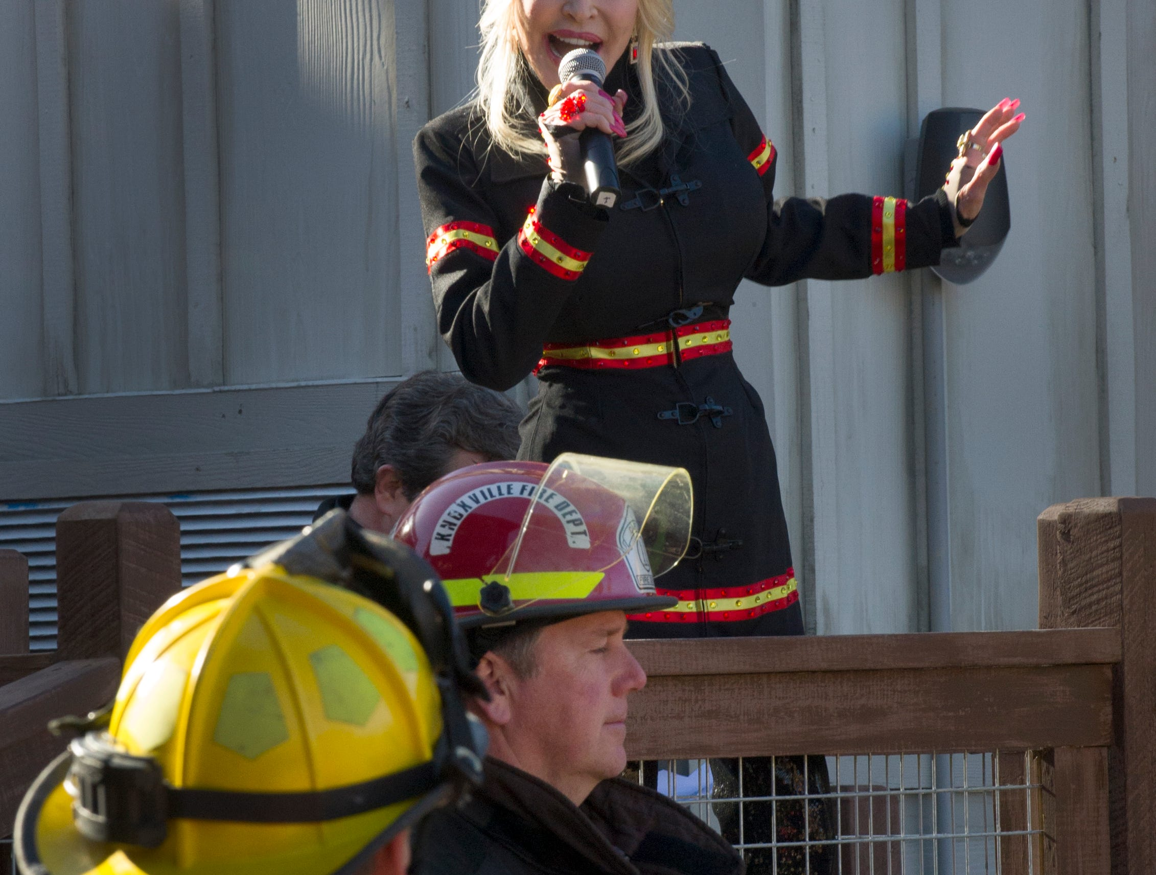 Dolly Parton opened the season at Dollywood Friday, Mar. 21, 2014 by starting their new Firechaser ride.