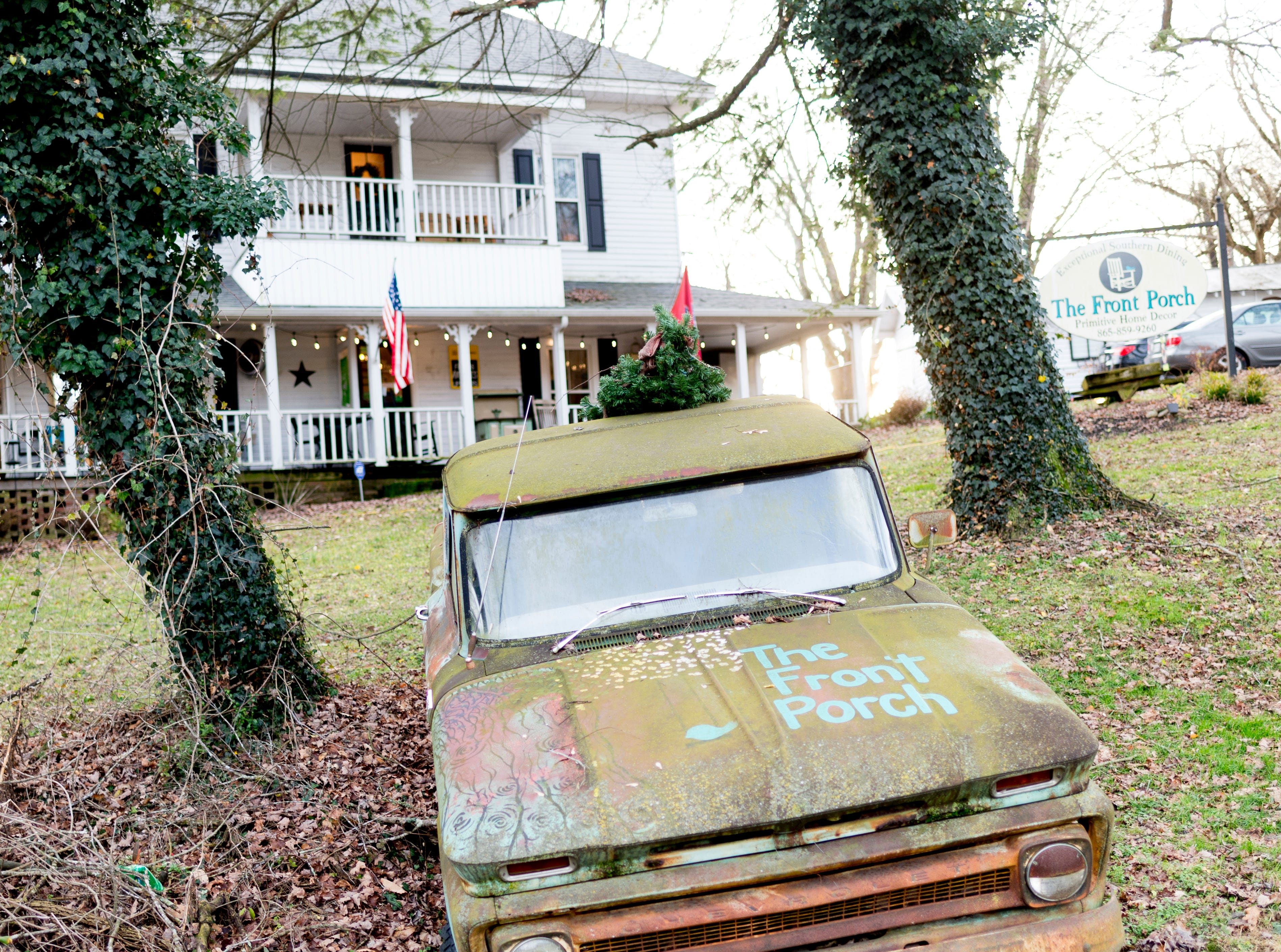 A vintage Chevrolet pickup sits in the lawn at The Front Porch Restaurant in Powell, Tennessee on Saturday, December 29, 2018. For five years, owner Bart Elkins has worked to revive that experience of the front porch being used as the focus for family and friends.