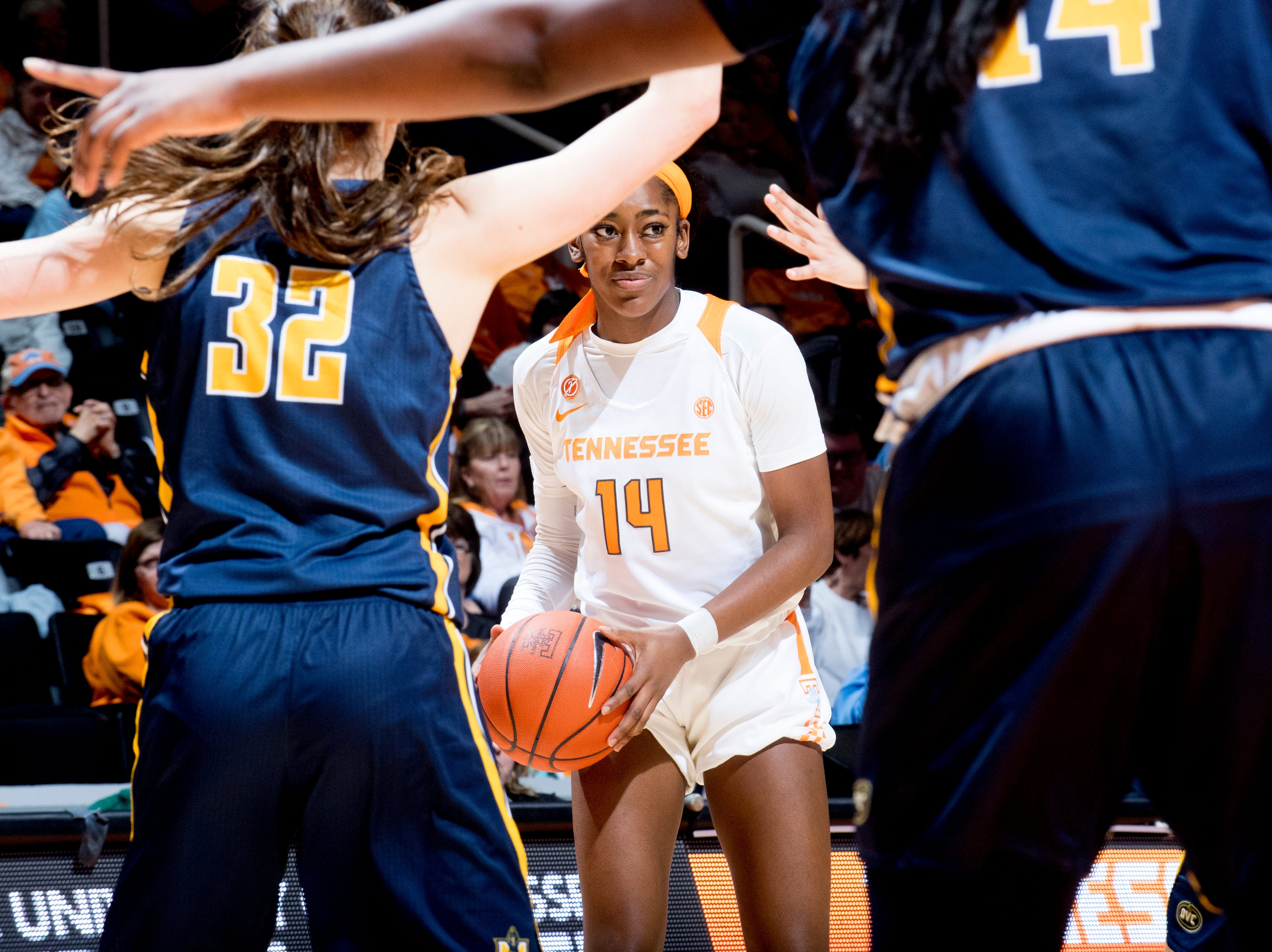 Tennessee guard Zaay Green (14) looks for a way through the defense during a game between the Tennessee Lady Vols and Murray State at Thompson-Boling Arena in Knoxville, Tennessee on Friday, December 28, 2018.