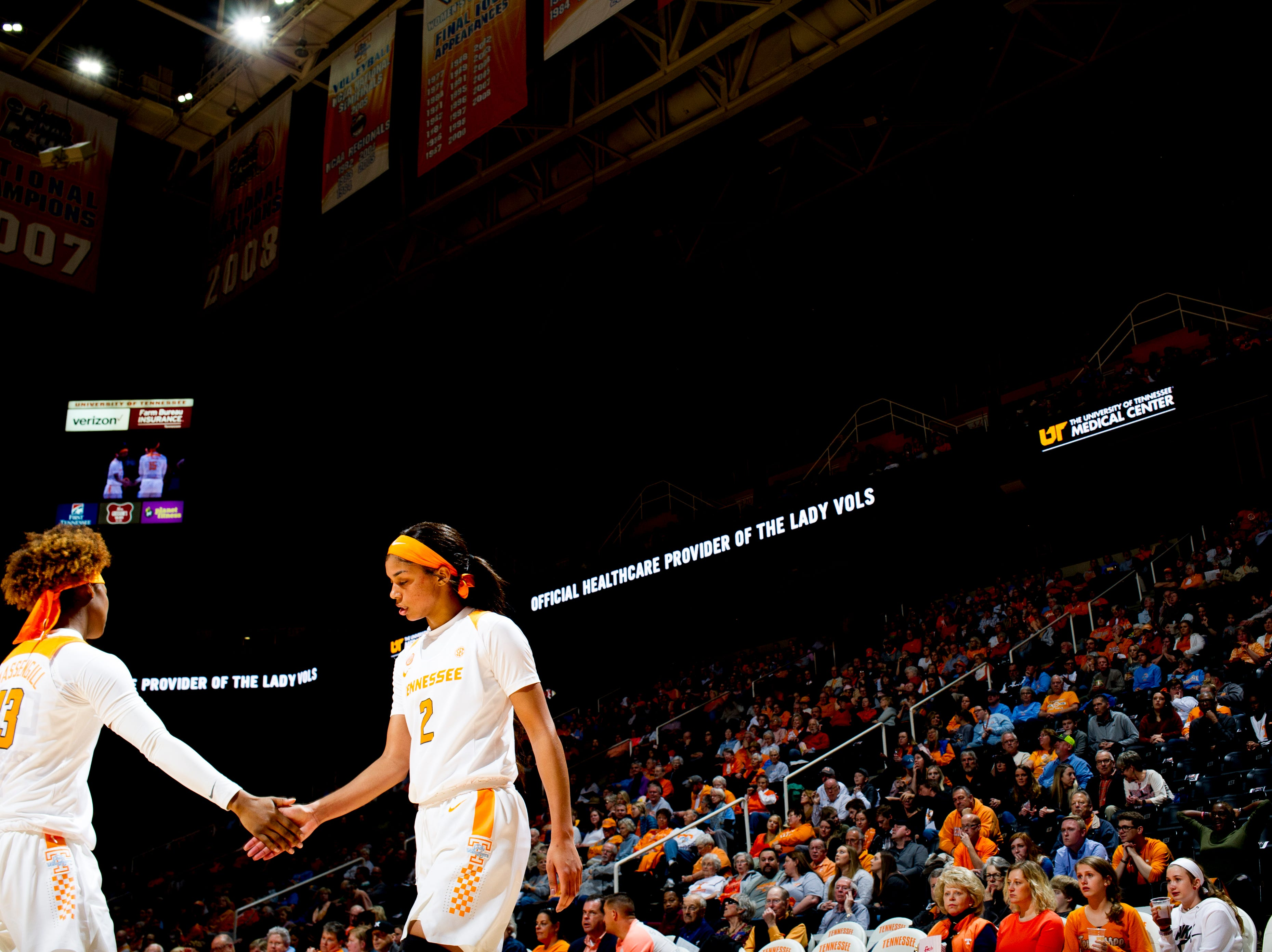 Tennessee guard Evina Westbrook (2) high fives Tennessee guard Jazmine Massengill (13) during a game between the Tennessee Lady Vols and Murray State at Thompson-Boling Arena in Knoxville, Tennessee on Friday, December 28, 2018.