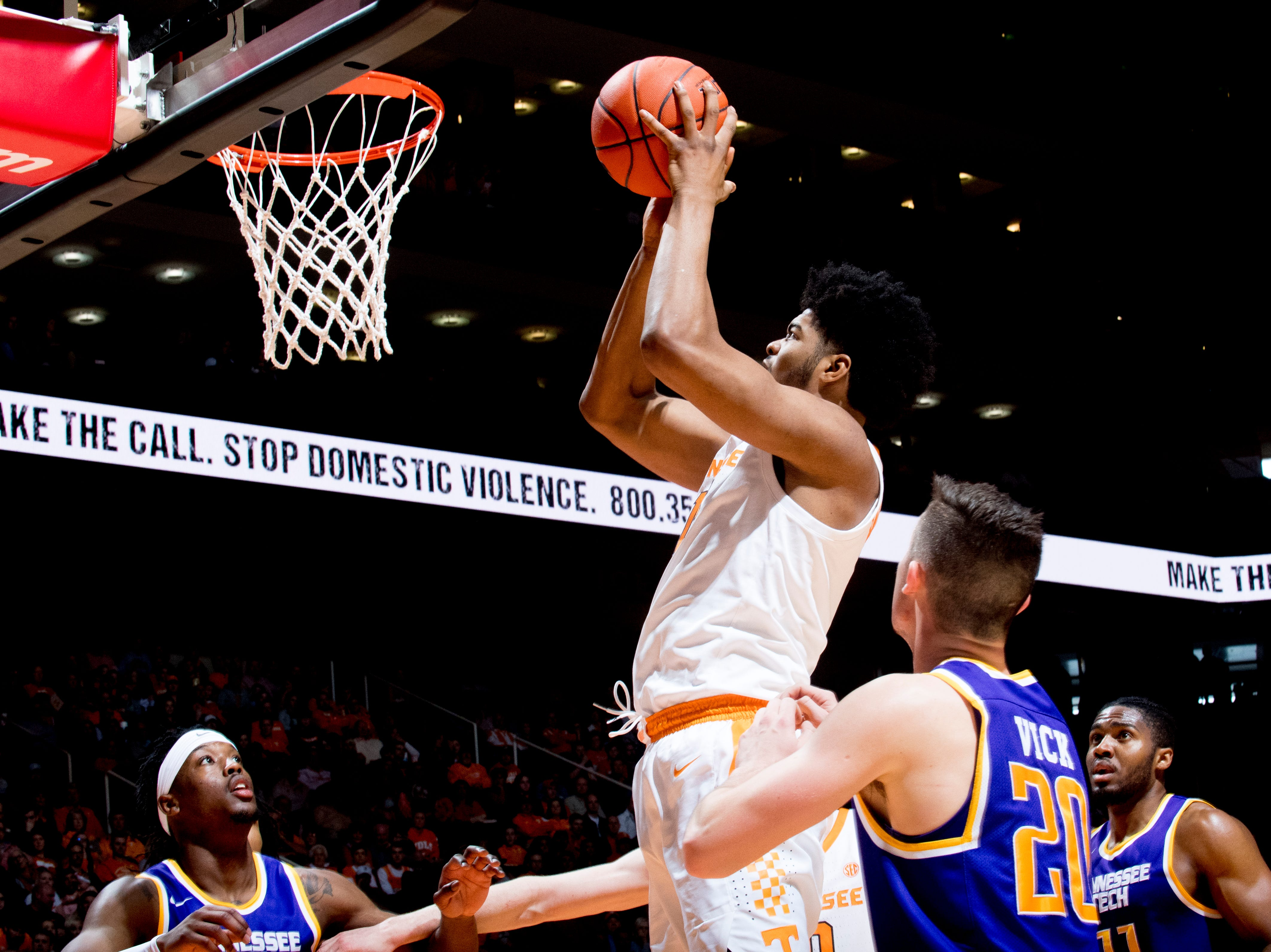 Tennessee forward Derrick Walker (15) shoots the ball during a game between Tennessee and Tennessee Tech at Thompson-Boling Arena in Knoxville, Tennessee on Saturday, December 29, 2018.