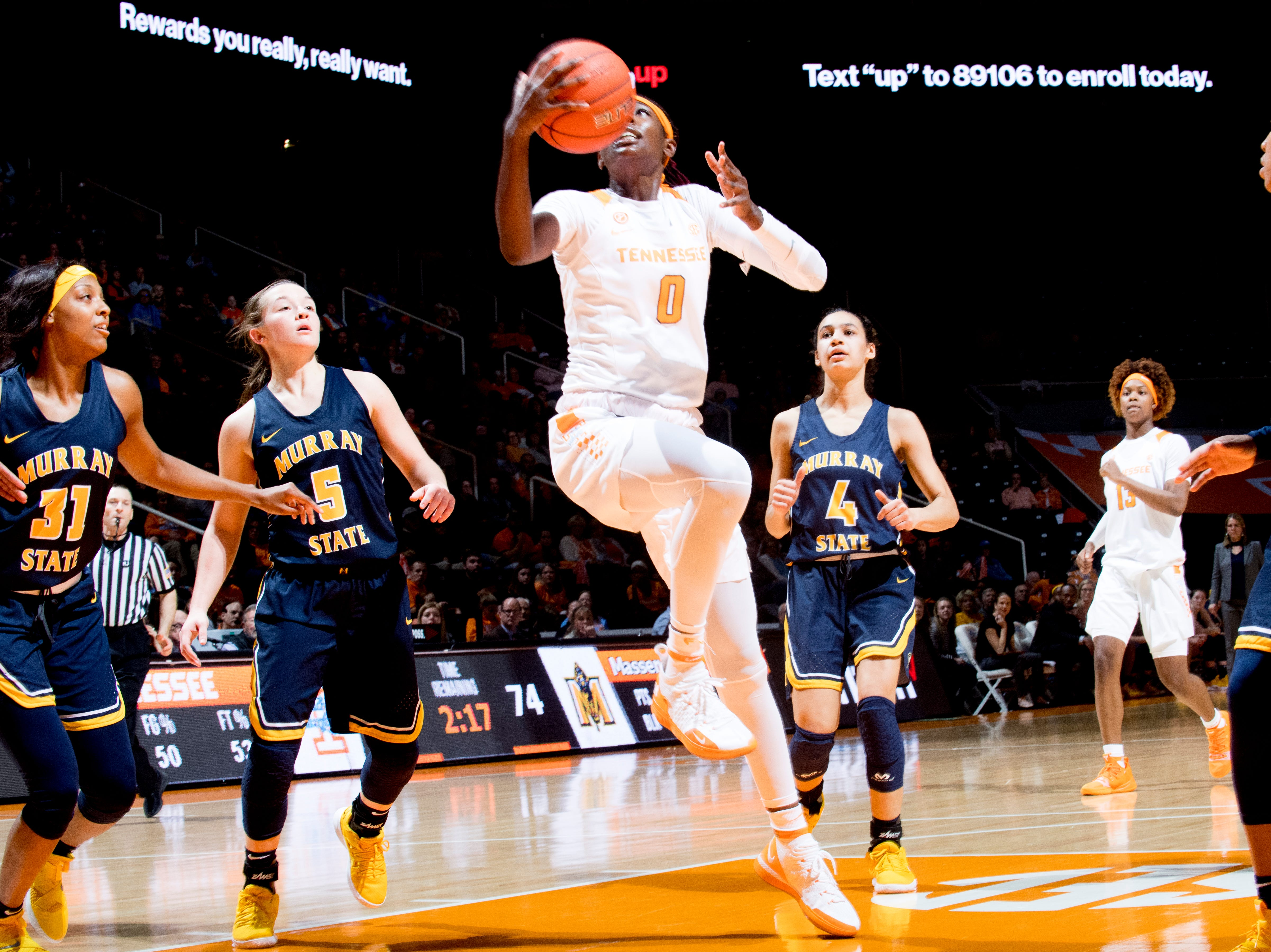 Tennessee guard/forward Rennia Davis (0) goes for a layup during a game between the Tennessee Lady Vols and Murray State at Thompson-Boling Arena in Knoxville, Tennessee on Friday, December 28, 2018.