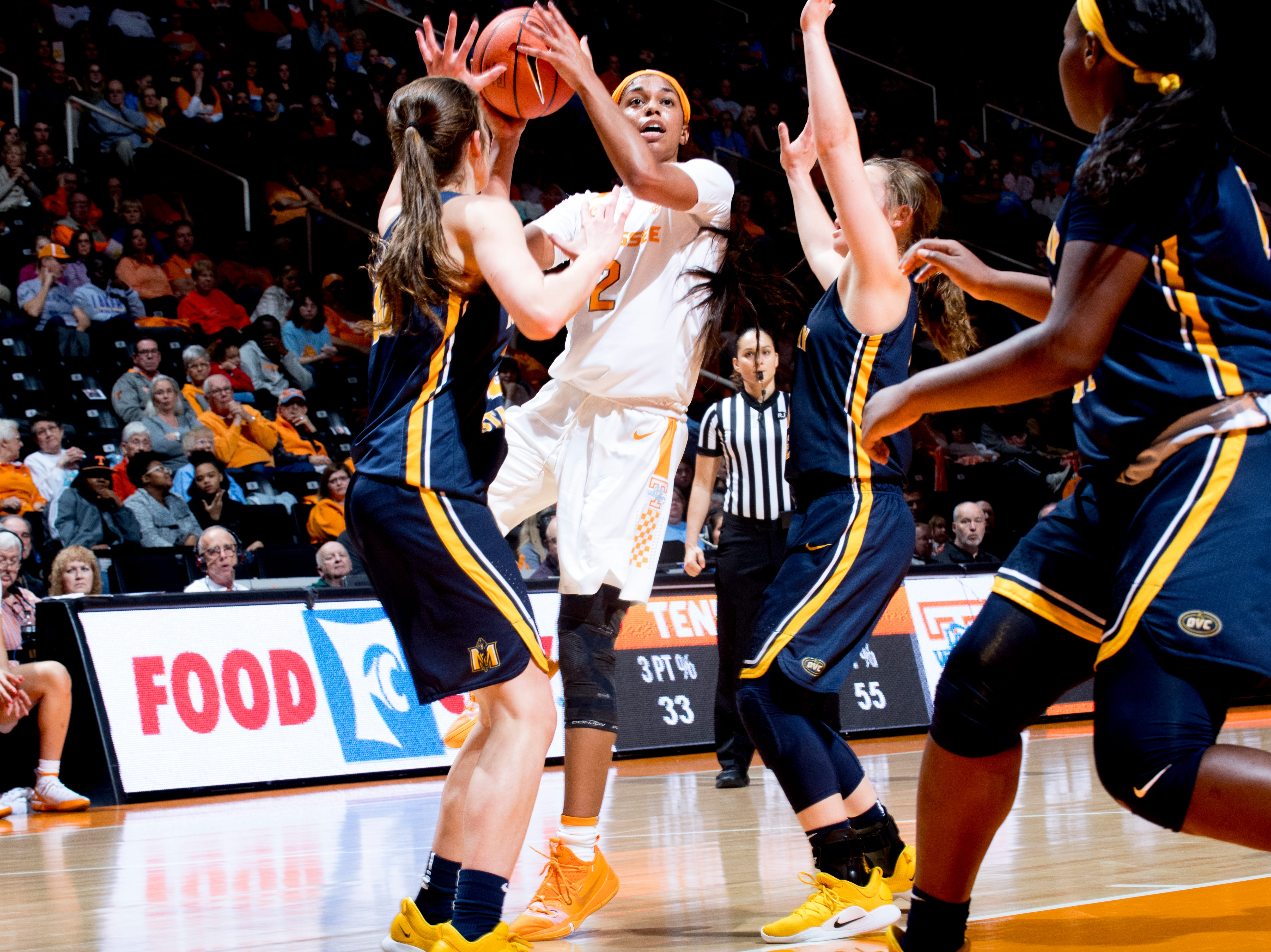 Tennessee guard Evina Westbrook (2) shoots past the Murray State defense during a game between the Tennessee Lady Vols and Murray State at Thompson-Boling Arena in Knoxville, Tennessee on Friday, December 28, 2018.