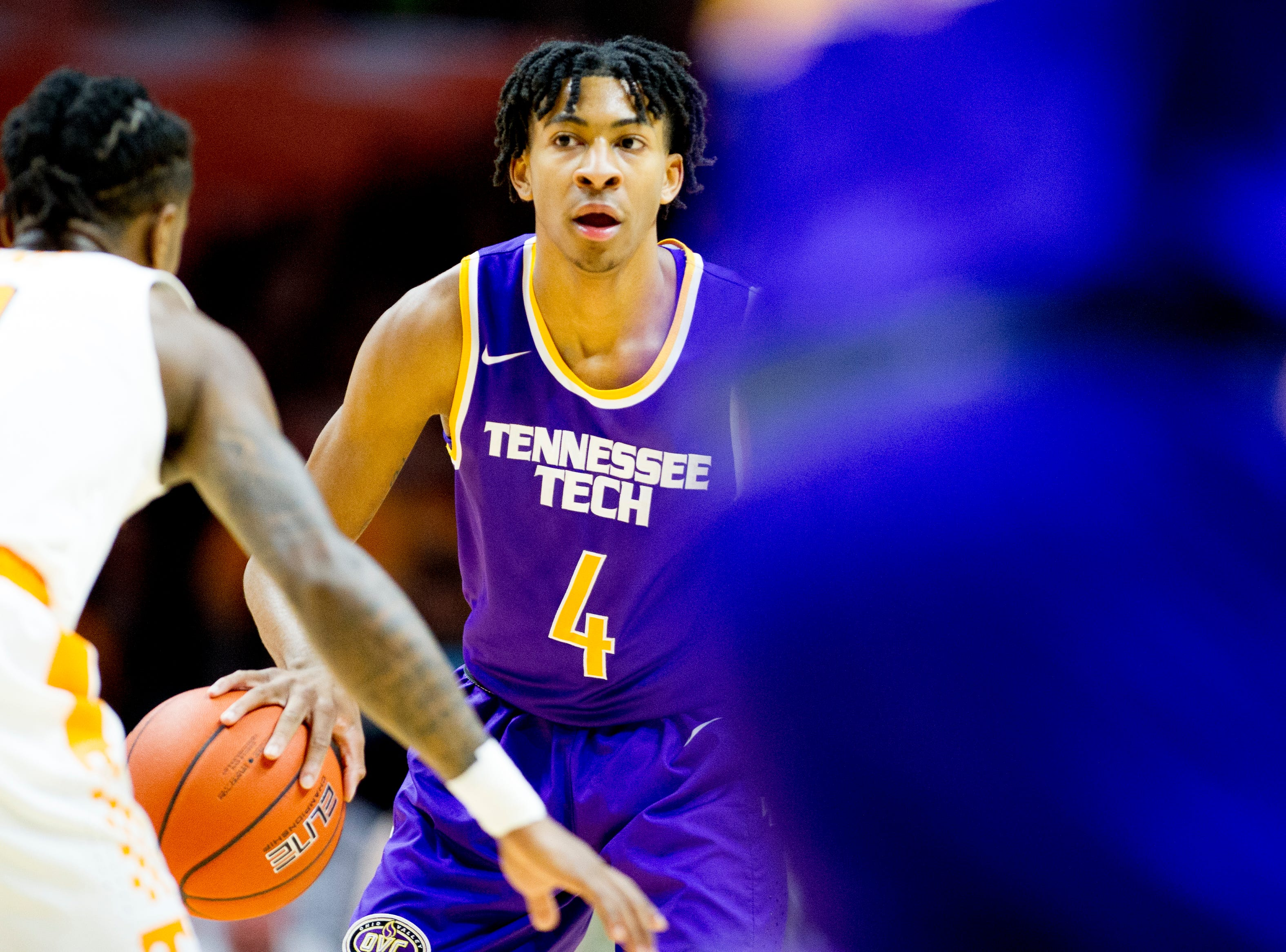 Tennessee Tech guard Jr. Clay (4) looks to pass during a game between Tennessee and Tennessee Tech at Thompson-Boling Arena in Knoxville, Tennessee on Saturday, December 29, 2018.