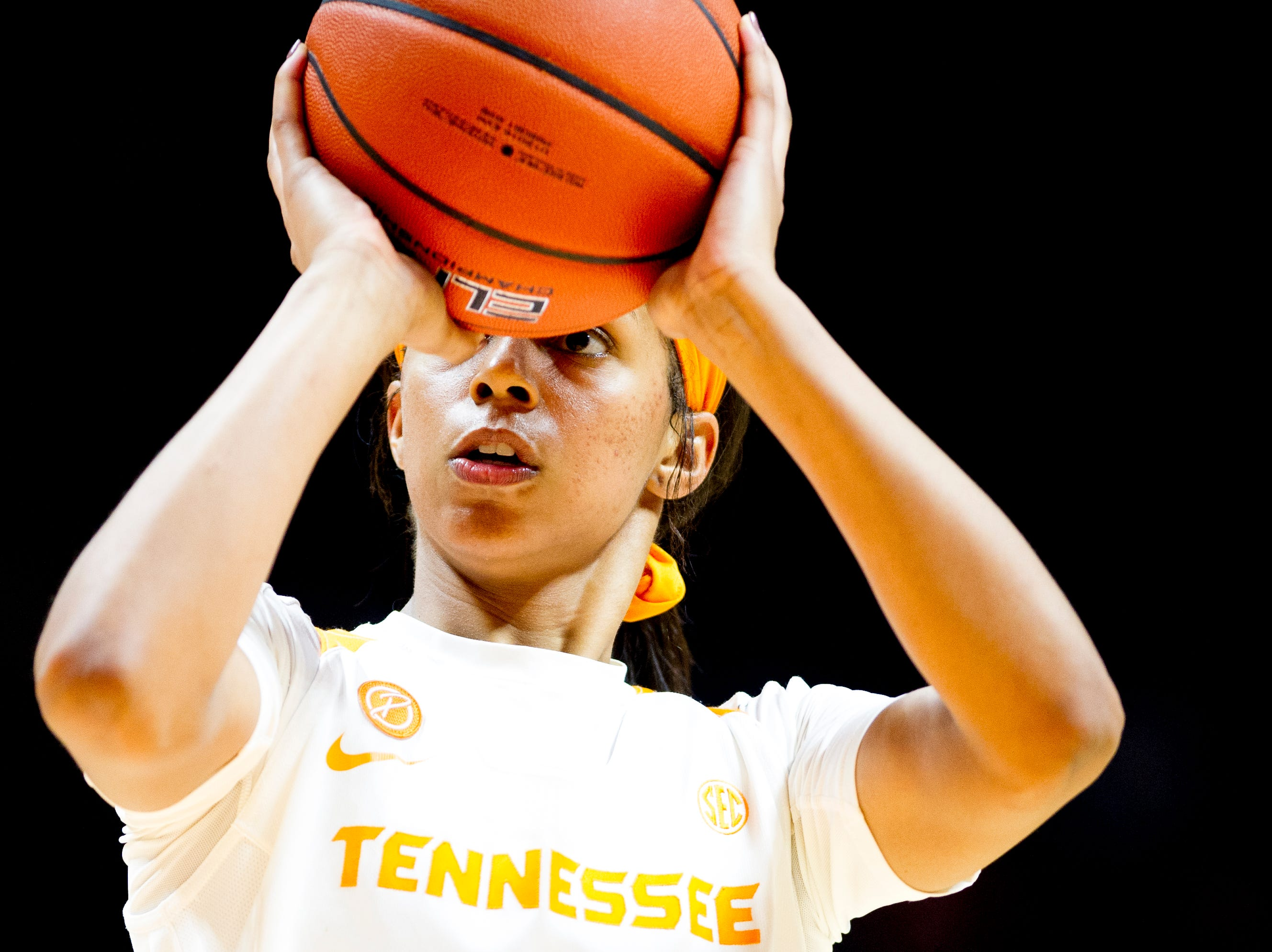 Tennessee guard Evina Westbrook (2) shoots a free throw during a game between the Tennessee Lady Vols and Murray State at Thompson-Boling Arena in Knoxville, Tennessee on Friday, December 28, 2018.
