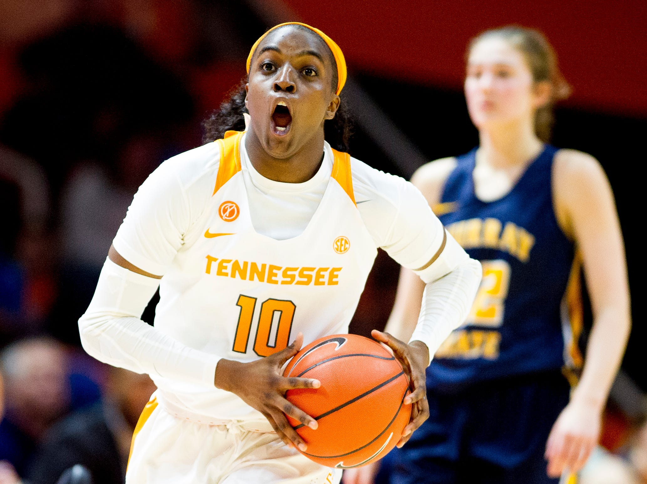 Tennessee guard/forward Meme Jackson (10) dribbles down the court during a game between the Tennessee Lady Vols and Murray State at Thompson-Boling Arena in Knoxville, Tennessee on Friday, December 28, 2018.