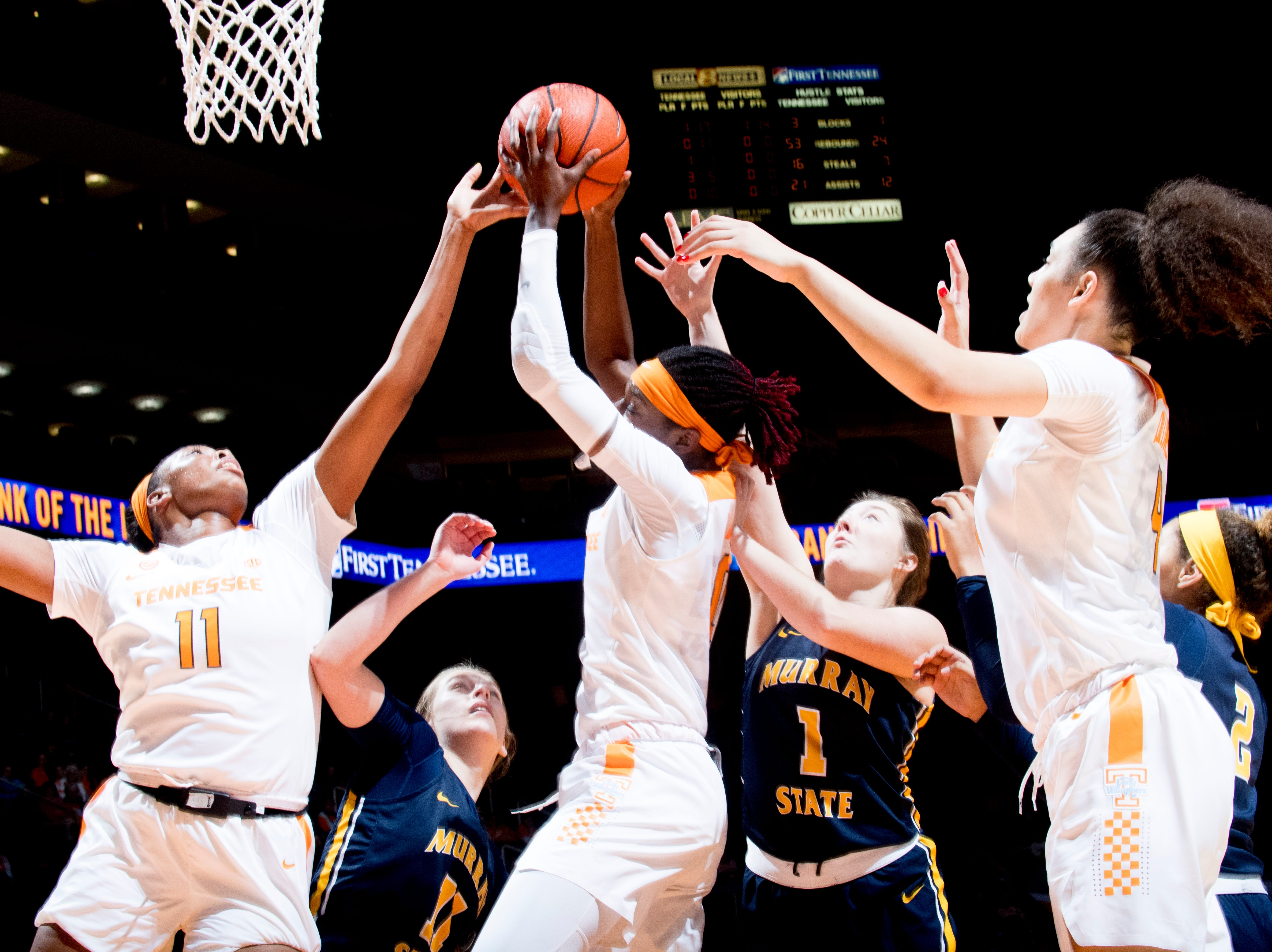 Tennessee guard/forward Rennia Davis (0) grabs the ball during a game between the Tennessee Lady Vols and Murray State at Thompson-Boling Arena in Knoxville, Tennessee on Friday, December 28, 2018.