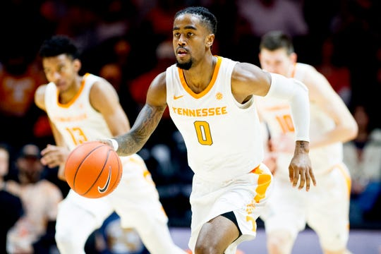 Tennessee guard Jordan Bone (0) dribbles down the court during a game between Tennessee and Tennessee Tech at Thompson-Boling Arena in Knoxville, Tennessee on Saturday, December 29, 2018.