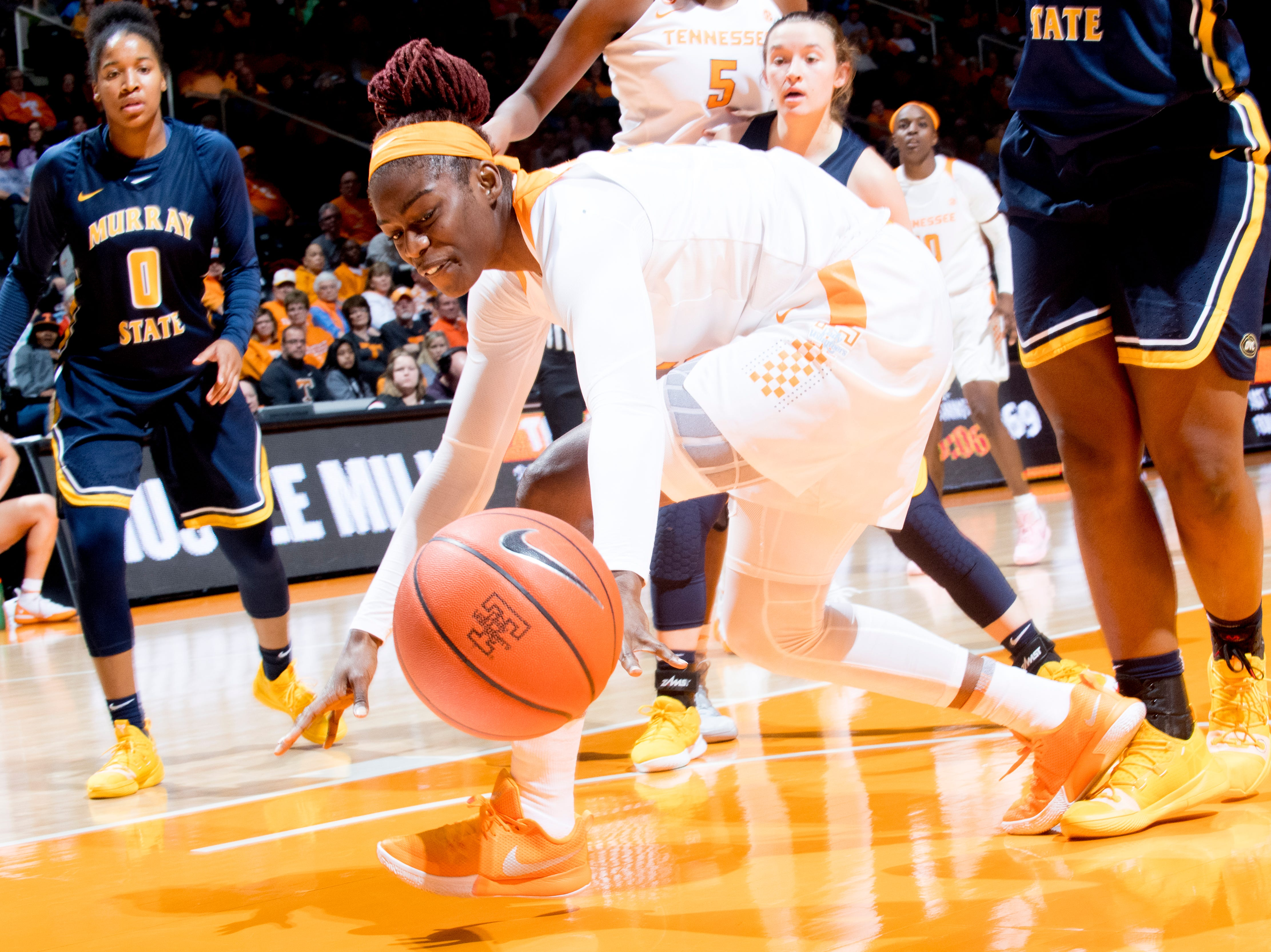 Tennessee forward Cheridene Green (15) loses the ball during a game between the Tennessee Lady Vols and Murray State at Thompson-Boling Arena in Knoxville, Tennessee on Friday, December 28, 2018.