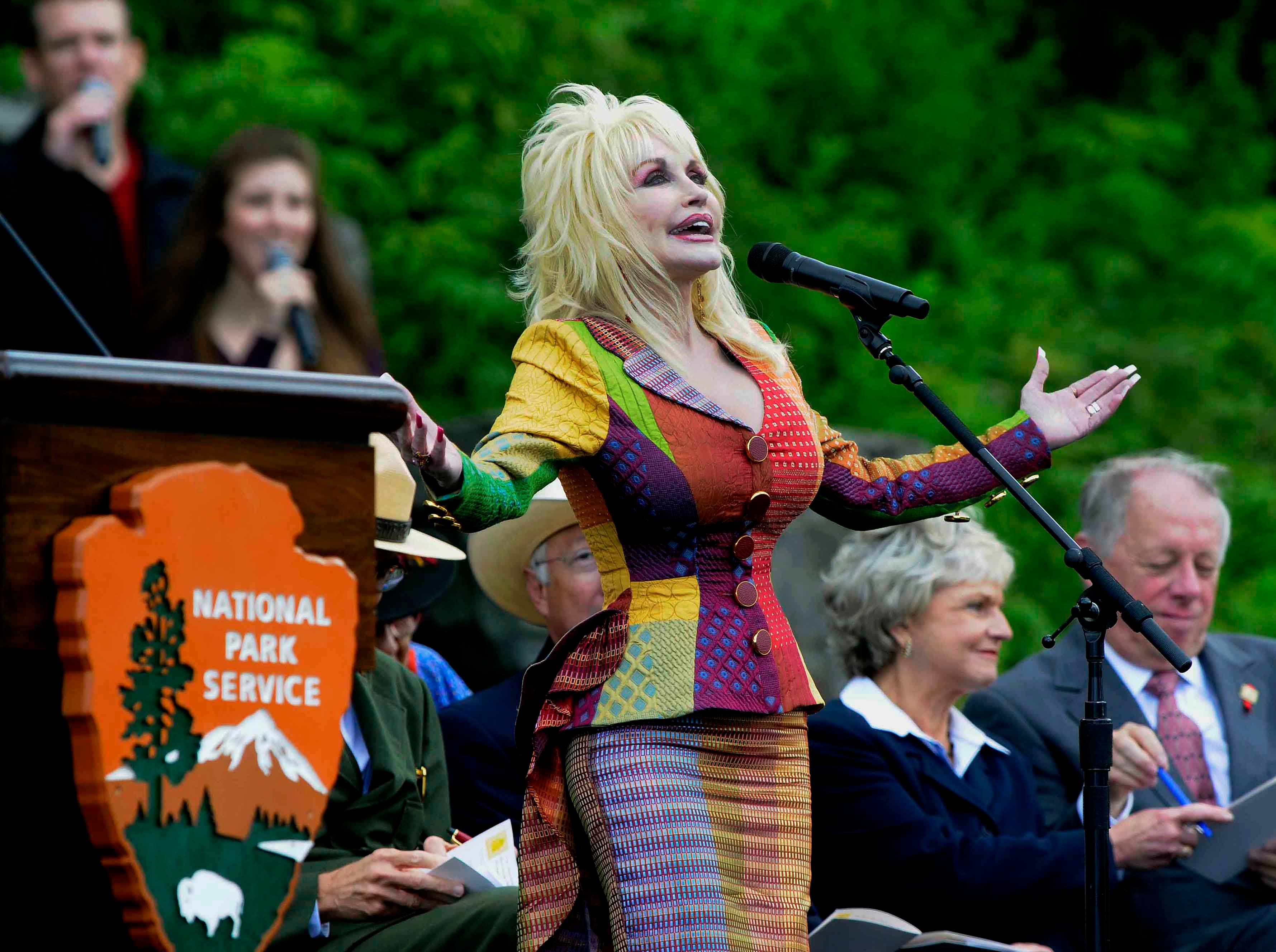 Dolly Parton sings the closing song during the 75th anniversary re-dedication of the Great Smoky Mountains National Park on Wednesday, September 2, 2009 at Newfound Gap.
