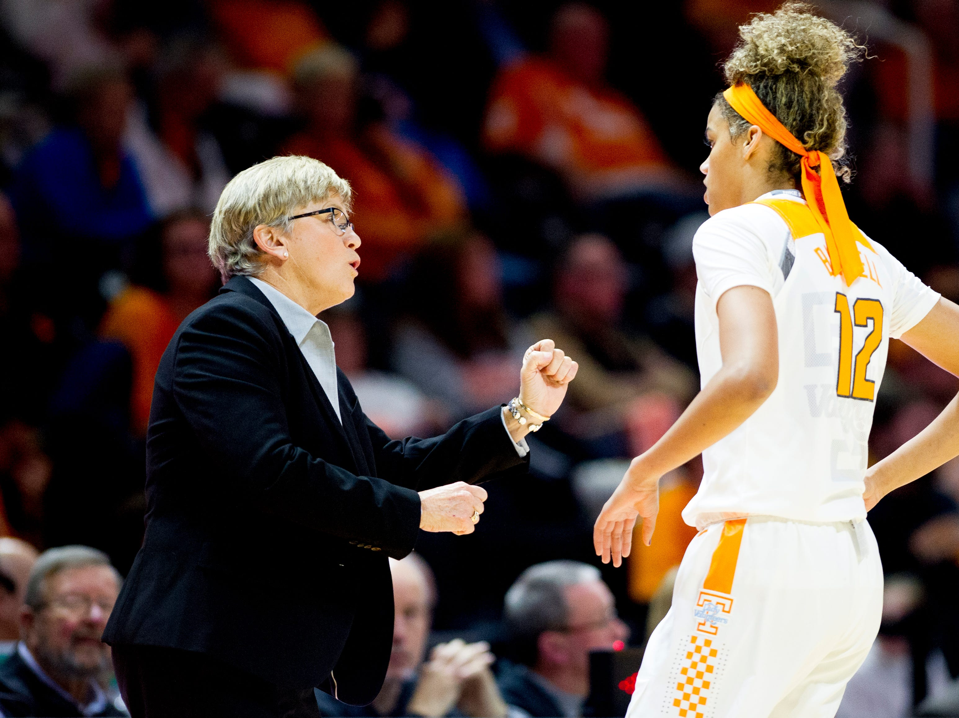 Tennessee Head Coach Holly Warlick speaks with Tennessee guard/forward Rae Burrell (12) during a game between the Tennessee Lady Vols and Murray State at Thompson-Boling Arena in Knoxville, Tennessee on Friday, December 28, 2018.
