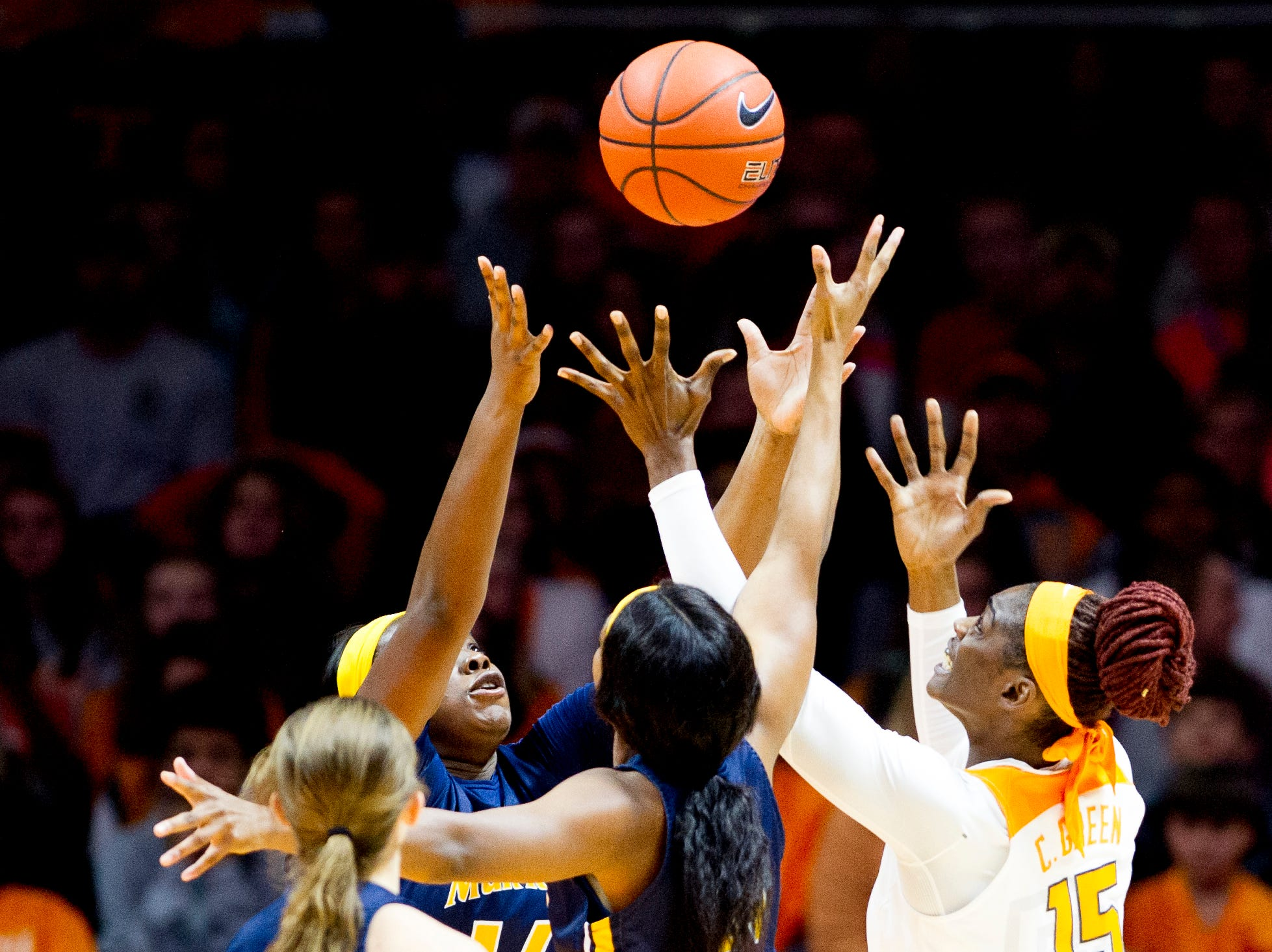 Players go for the rebound ball during a game between the Tennessee Lady Vols and Murray State at Thompson-Boling Arena in Knoxville, Tennessee on Friday, December 28, 2018.