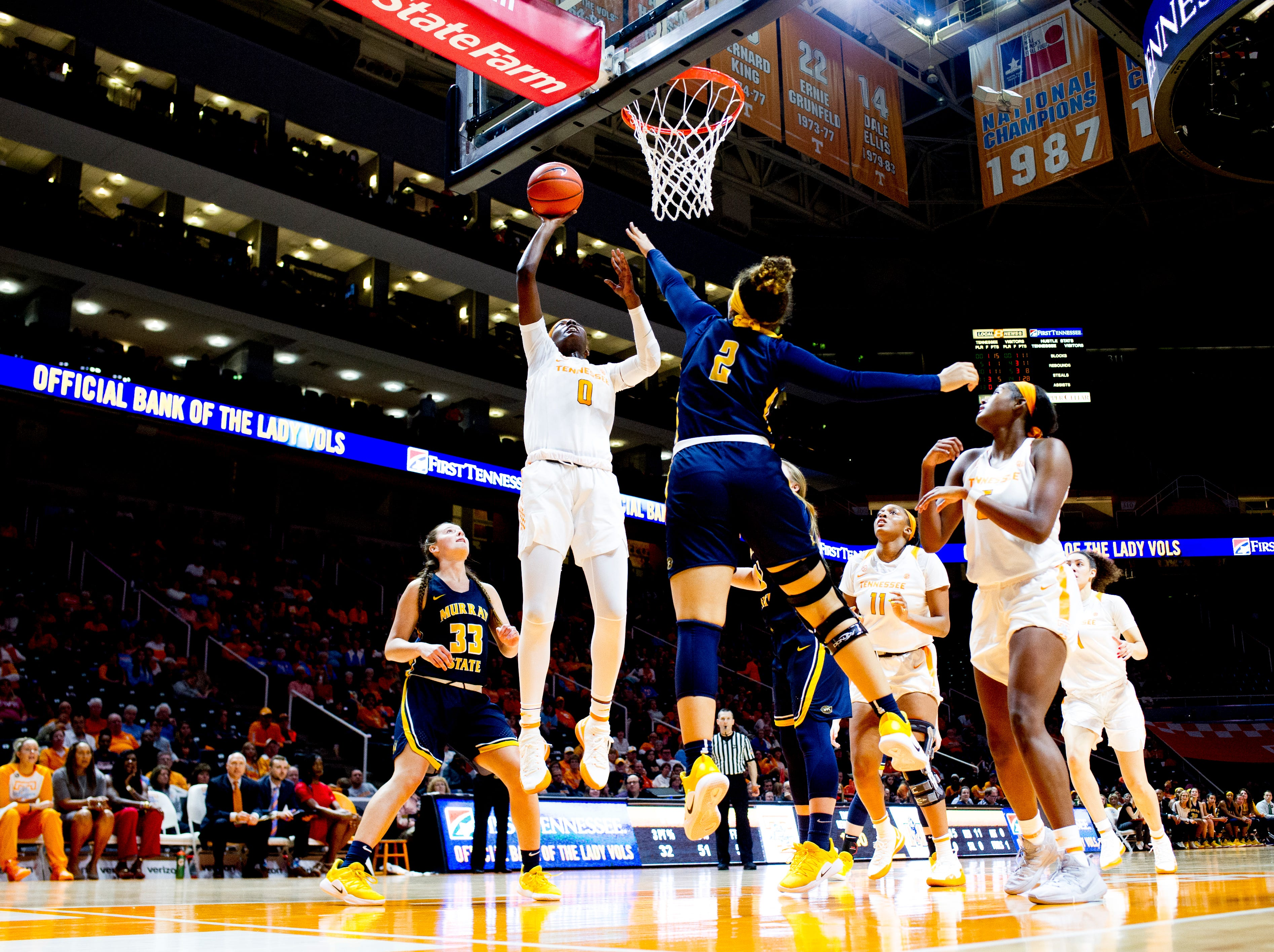 Tennessee guard/forward Rennia Davis (0) shoots a layup during a game between the Tennessee Lady Vols and Murray State at Thompson-Boling Arena in Knoxville, Tennessee on Friday, December 28, 2018.