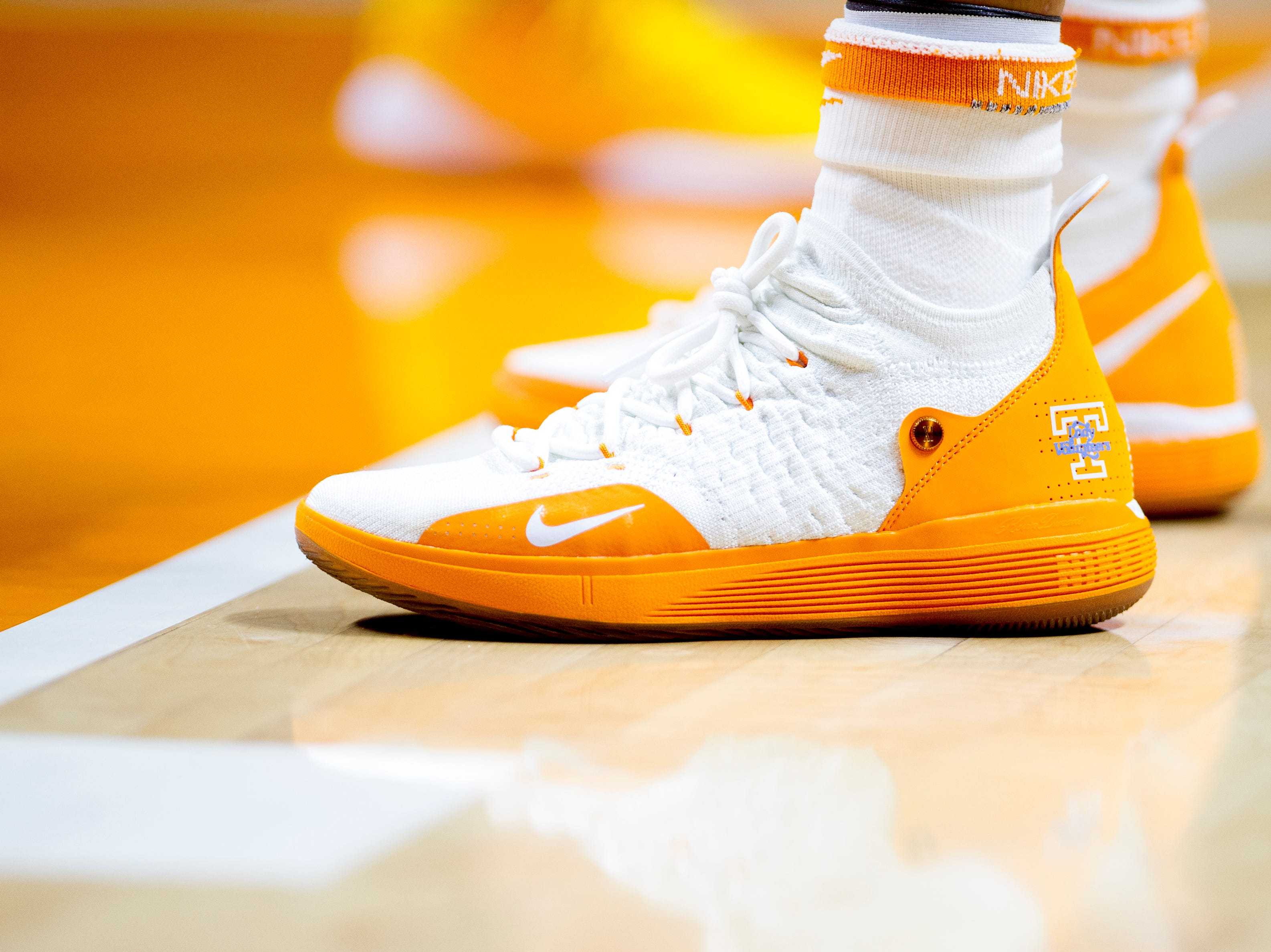 A Tennessee player wears Lady Vols shoes during a game between the Tennessee Lady Vols and Murray State at Thompson-Boling Arena in Knoxville, Tennessee on Friday, December 28, 2018.
