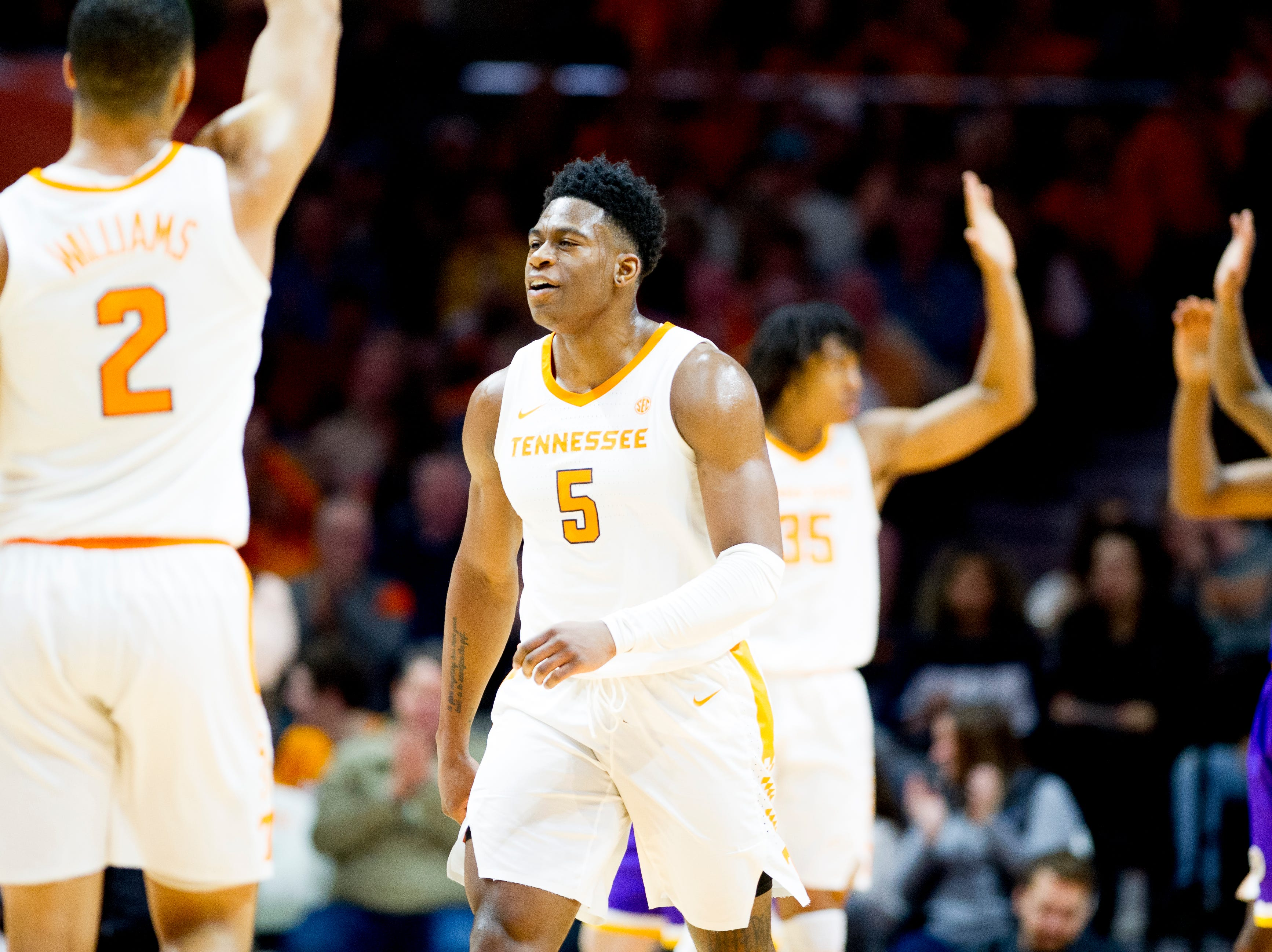 Tennessee guard Admiral Schofield (5) celebrates a point during a game between Tennessee and Tennessee Tech at Thompson-Boling Arena in Knoxville, Tennessee on Saturday, December 29, 2018.