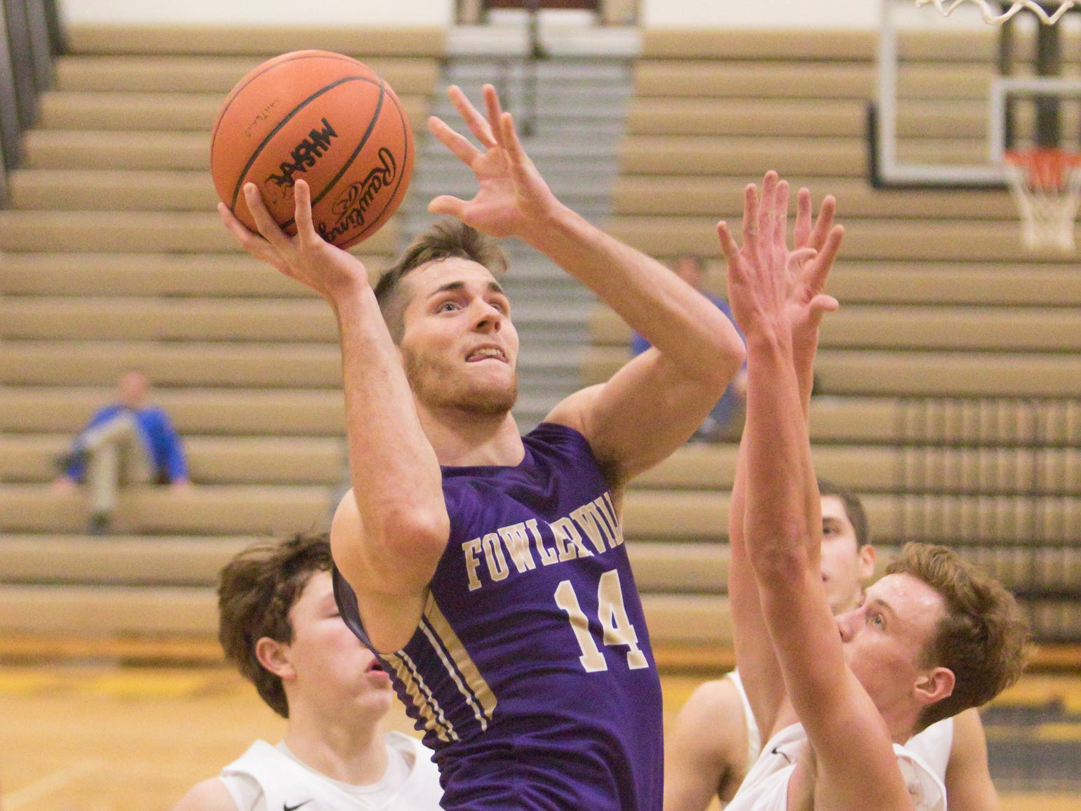 Geoffrey Knaggs of Fowlerville was the high scorer of the night in the game against the Dexter Dreadnaughts Friday, Dec. 28, 2018 in Hartland.