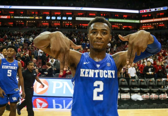 Kentucky's Ashton Hagans walked off the court throwing down the L's as the Wildcats beat Louisville 71-58 in the Battle of the Bluegrass Saturday afternoon at the KFC Yum! Center in downtown Louisville. Hagans finished with 11 points. Dec. 29, 2018