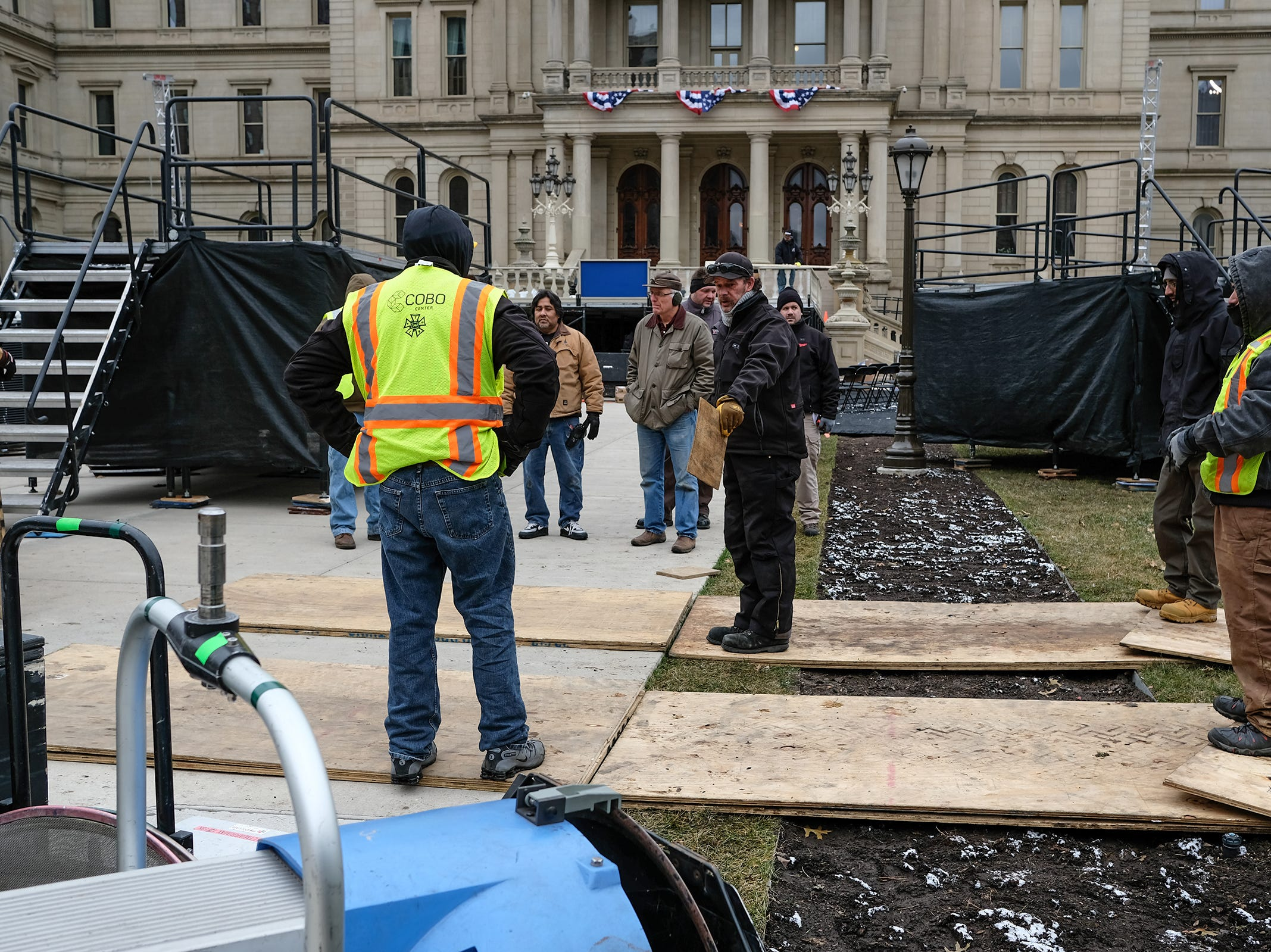 Workers from PMI out of Romulus, continue working at the state Capitol Saturday, Dec. 29, 2018 preparing for the Governor's inauguration on January 1st.