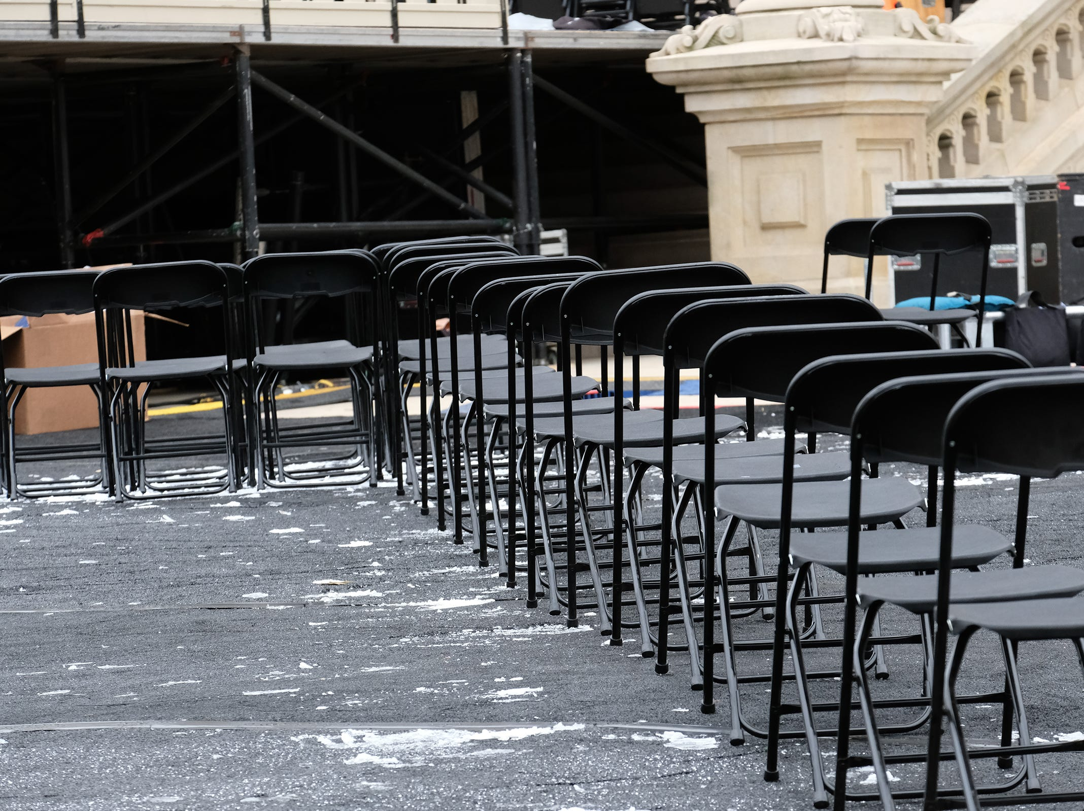 Some chairs are set-up at the state Capitol Saturday, Dec. 29, 2018 as the preparations for the Governor's inauguration get underway.