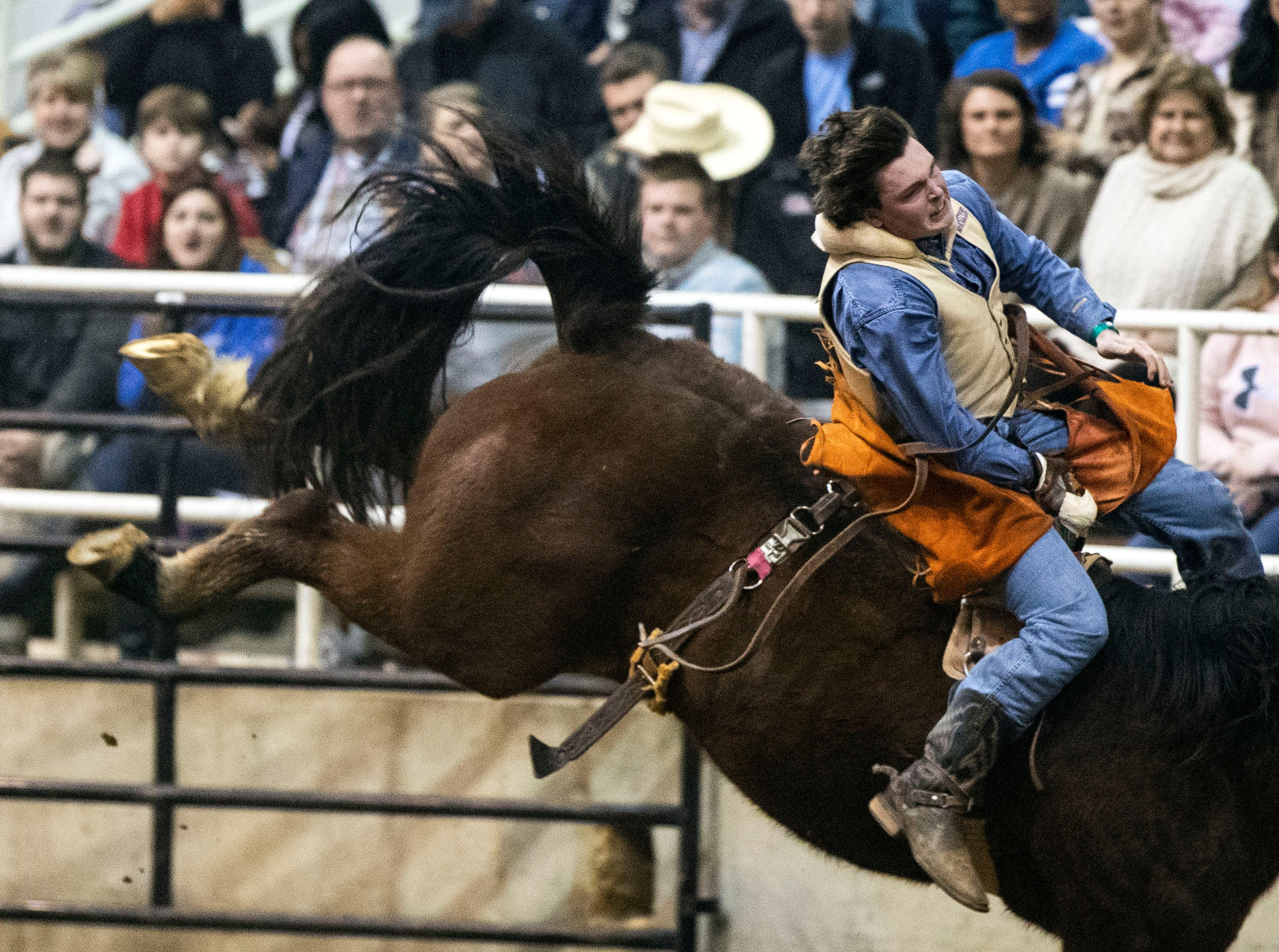 The 2018 AutoZone Liberty Bowl Professional Rodeo featured top performers from around the country competing in events such as Bull Riding, Bareback Bronc Riding, Steer Wrestling and Barrel Racing, inside the Agricenter Show Place Arena.