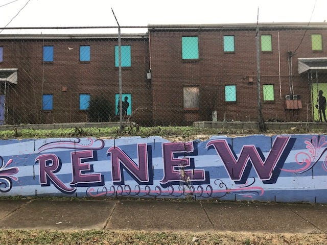 A mural in Frayser across the street from a shooting Friday at MLK College Prepatory School