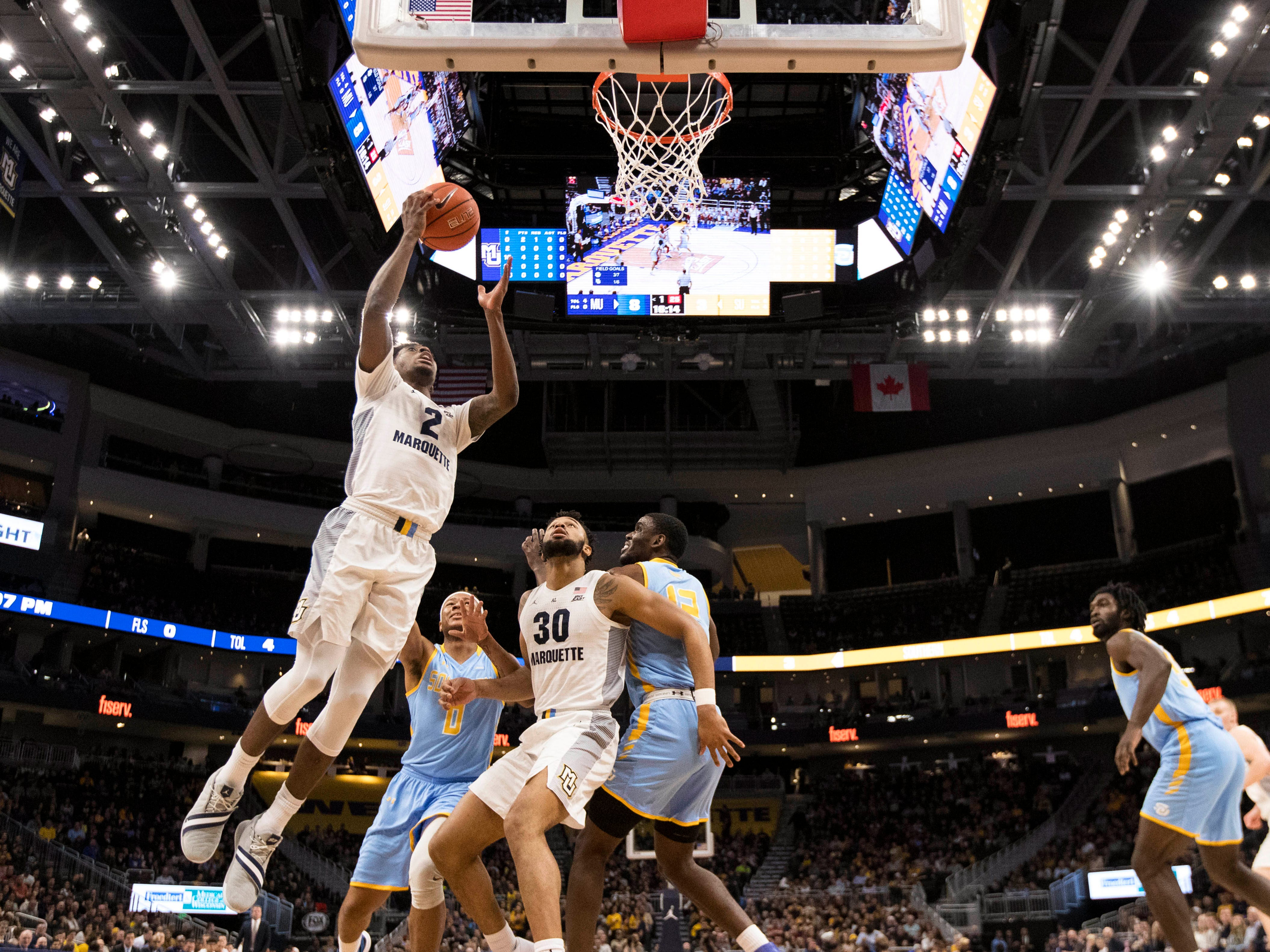 Marquette forward Sacar Anim goes up for an easy bucket against Southern on Friday night.