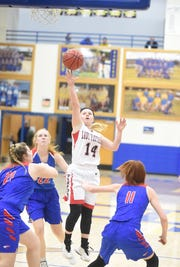 Norfork's Kinley Stowers puts up a shot against Paragould on Friday night.