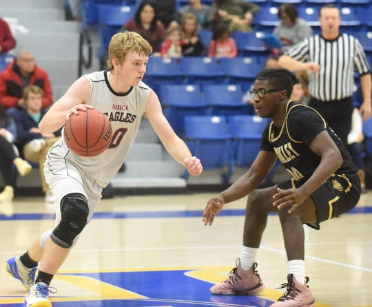 Mountain Home Christian Academy's Cooper Long dribbles against Brinkley's Lamont Swanigan.