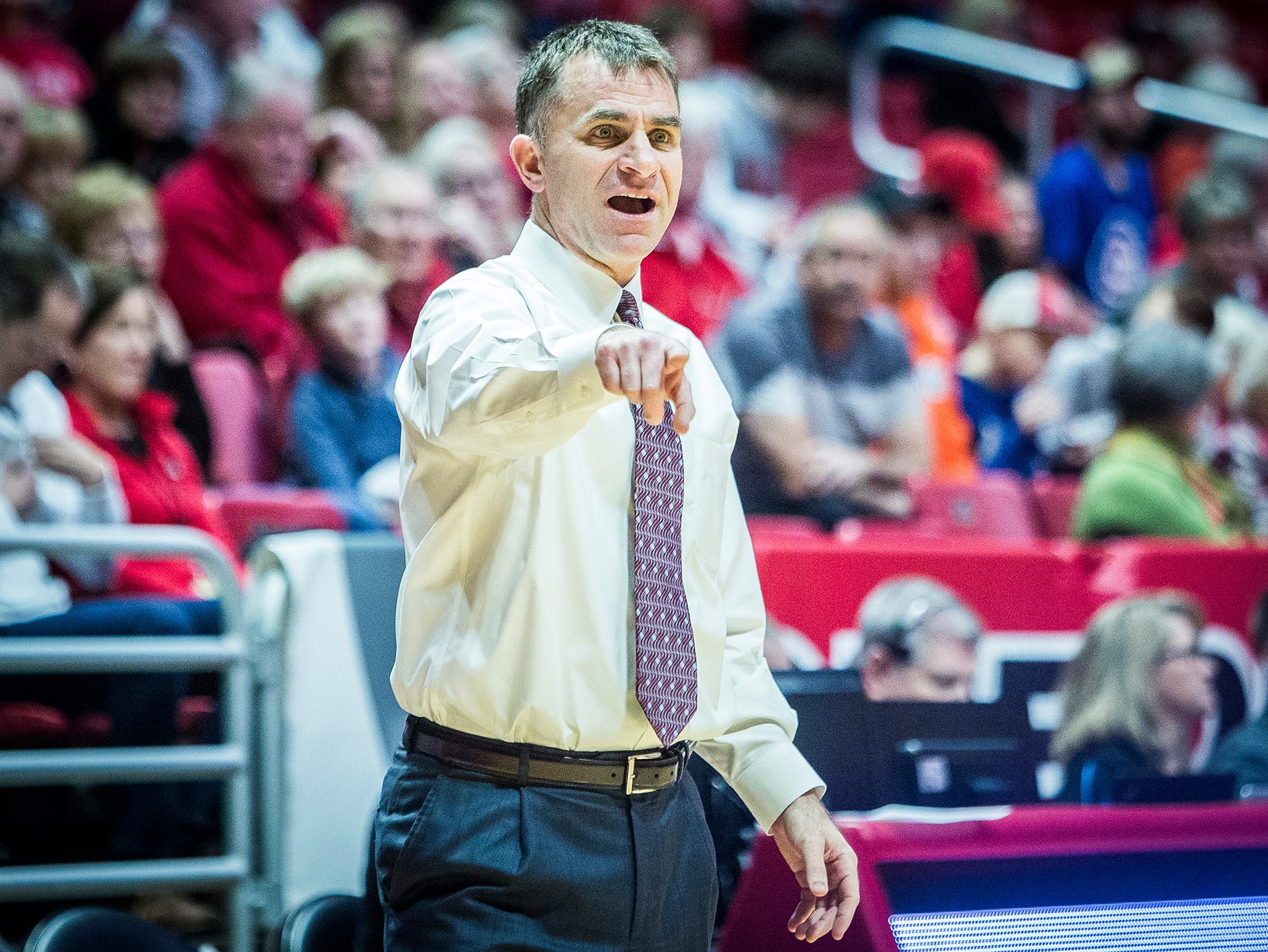 Ball State's James Whitford coaches against Delaware State during their game at Worthen Arena Saturday, Dec. 29, 2018.