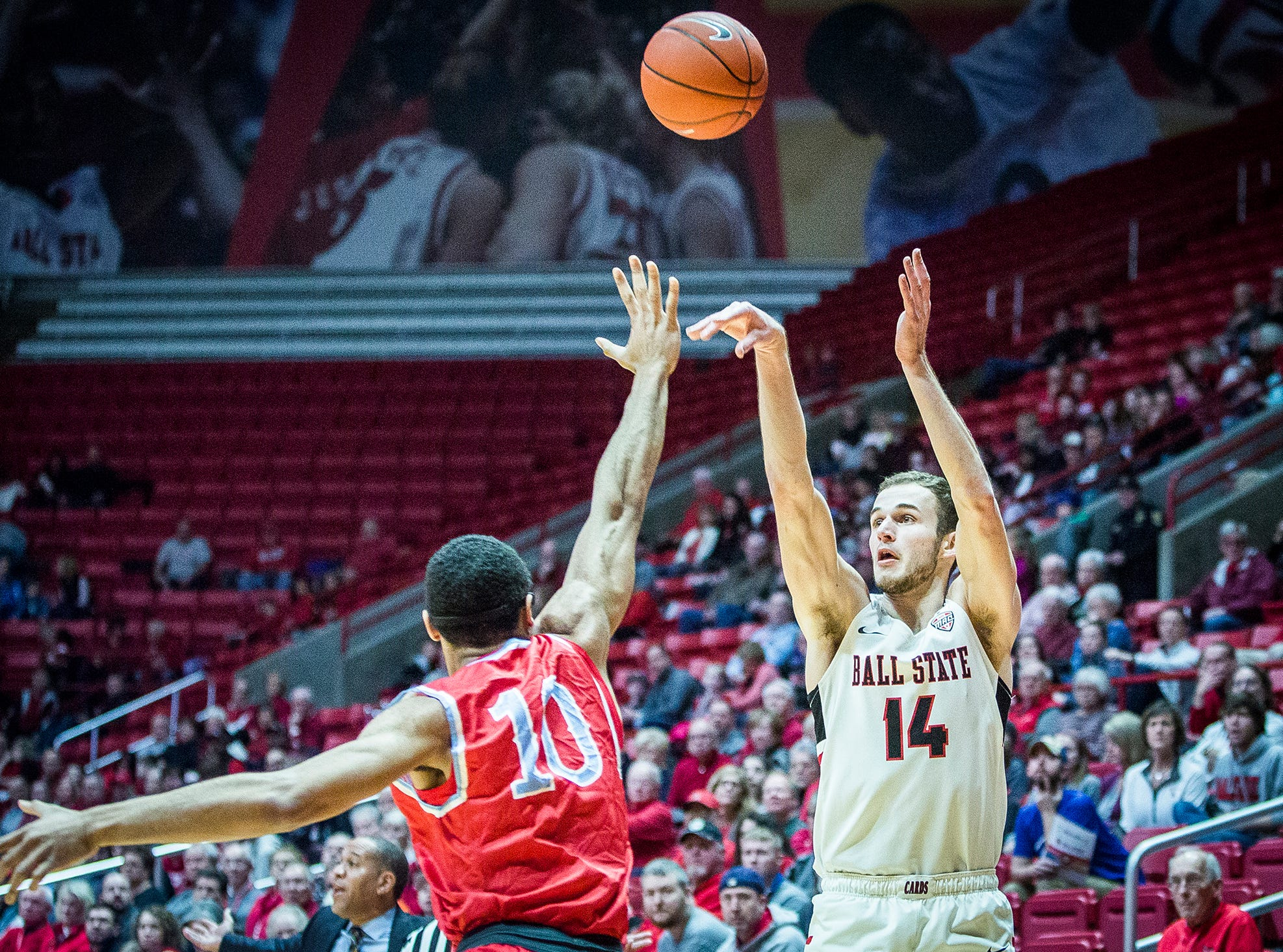 Ball State's Kyle Mallers shoots past Delaware State's defense during their game at Worthen Arena Saturday, Dec. 29, 2018.