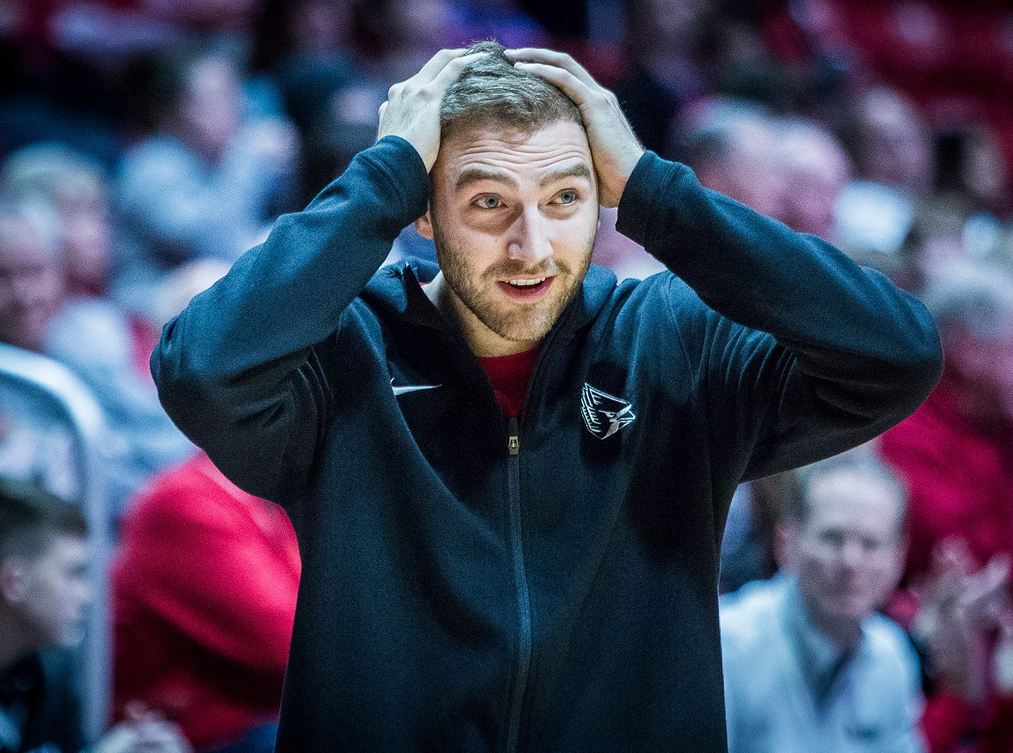 Ball State's Brachen Hazen is in disbelief during the game against Delaware State at Worthen Arena Saturday, Dec. 29, 2018.