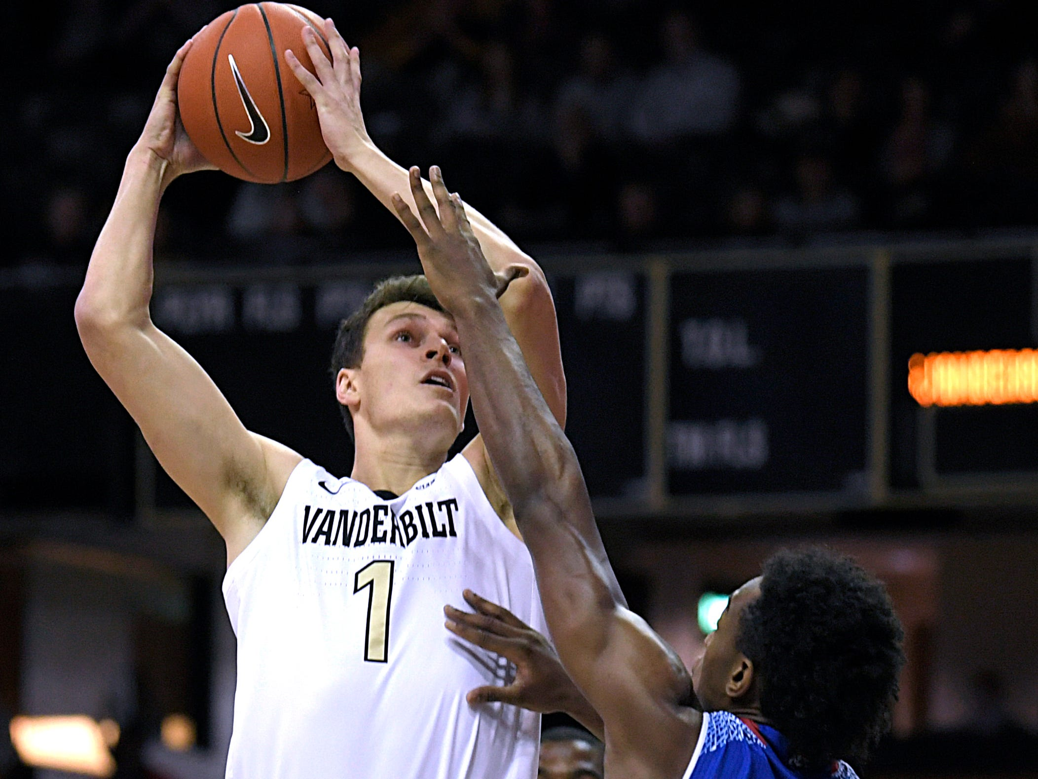 Vanderbilt forward Yanni Wetzell (1) shoots against Tennessee State forward Stokley Chaffee Jr. (30) during a game at Memorial Gym in Nashville on Saturday, Dec. 29, 2018.