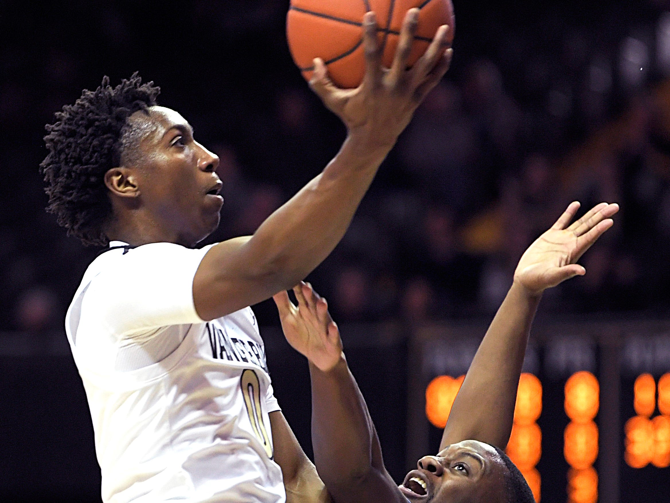 Vanderbilt guard Saben Lee (0) shoots against Tennessee State forward DaJion Henderson (23) during a game at Memorial Gym in Nashville on Saturday, Dec. 29, 2018.