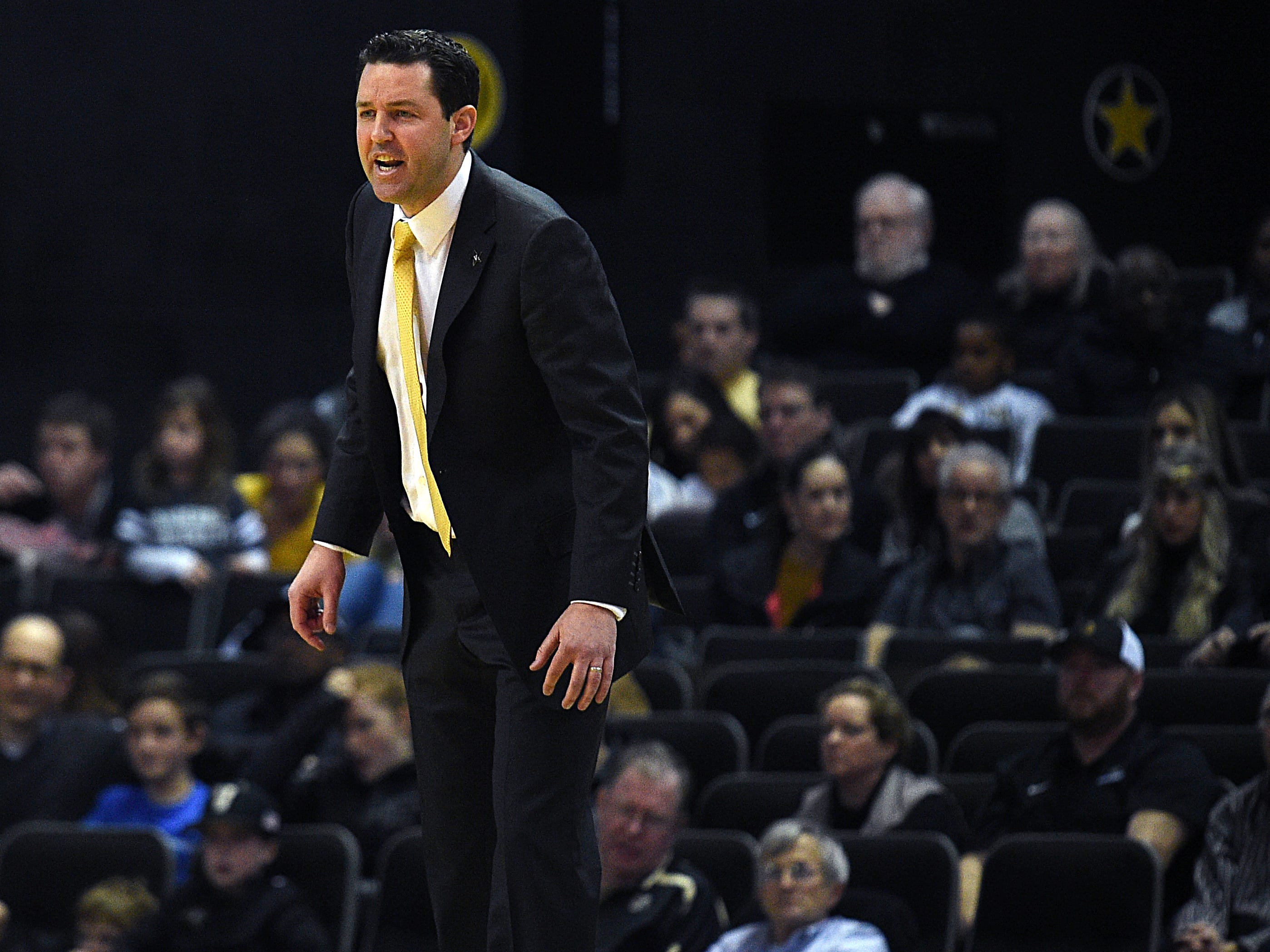 Vanderbilt head caoch Bryce Drew gives instructions to his players during a games against TSU at Memorial Gym in Nashville on Saturday, Dec. 29, 2018.