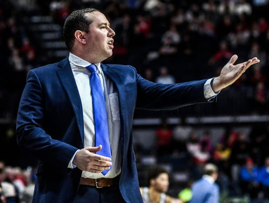 Florida Gulf Coast head coach Michael Fly questions an official during a game against Mississippi on Saturday in Oxford, Miss. (Bruce Newman/Oxford Eagle via AP)
