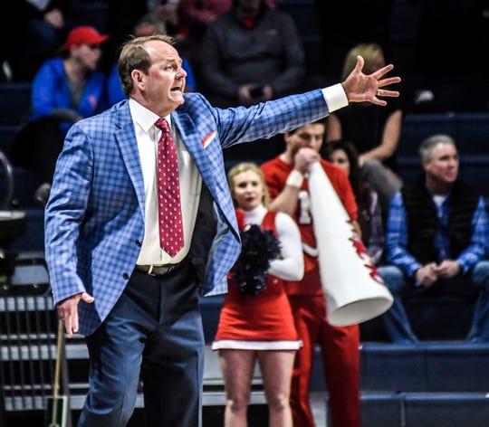 Mississippi head coach Kermit Davis coaches against Florida Gulf Coast  during an NCAA college basketball game Saturday, Dec. 29, 2018, in Oxford, Miss. (Bruce Newman/Oxford Eagle via AP)