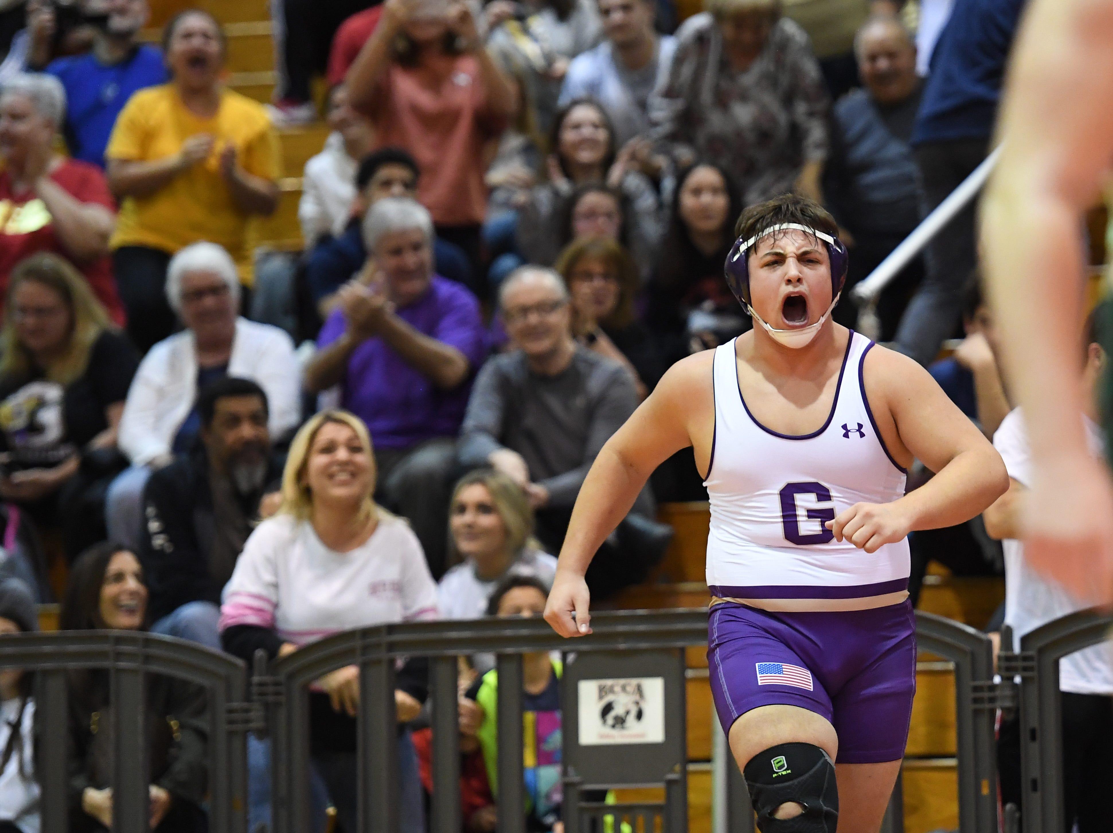 Bergen County wrestling finals at Hackensack High School on Friday, December 28, 2018. Michael Filieri (Garfield) celebrates winning his 220 pound match.