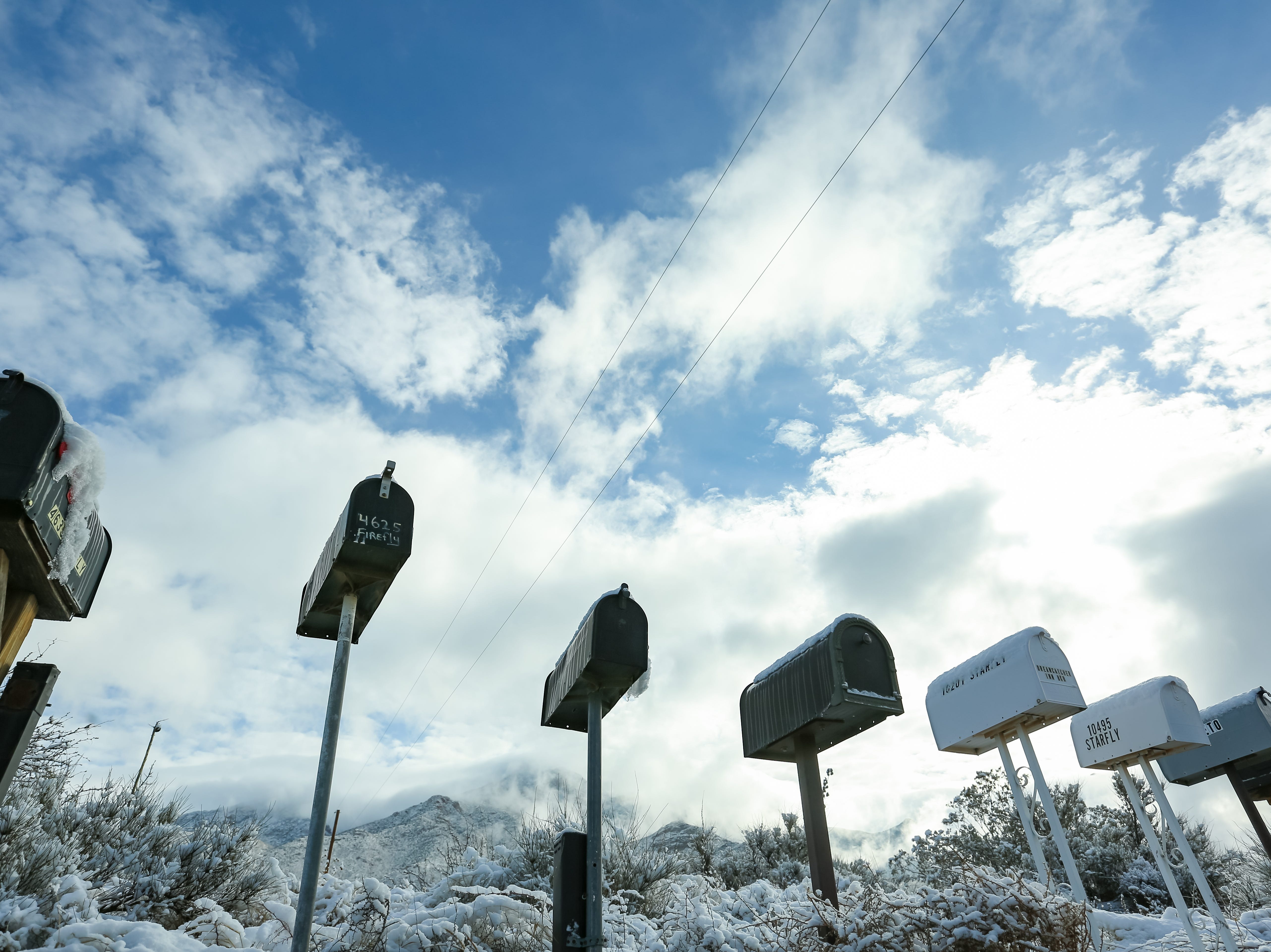 Mailboxs are pictured with some snow on Baylor Canyon Road on Saturday Dec. 29, 2019.