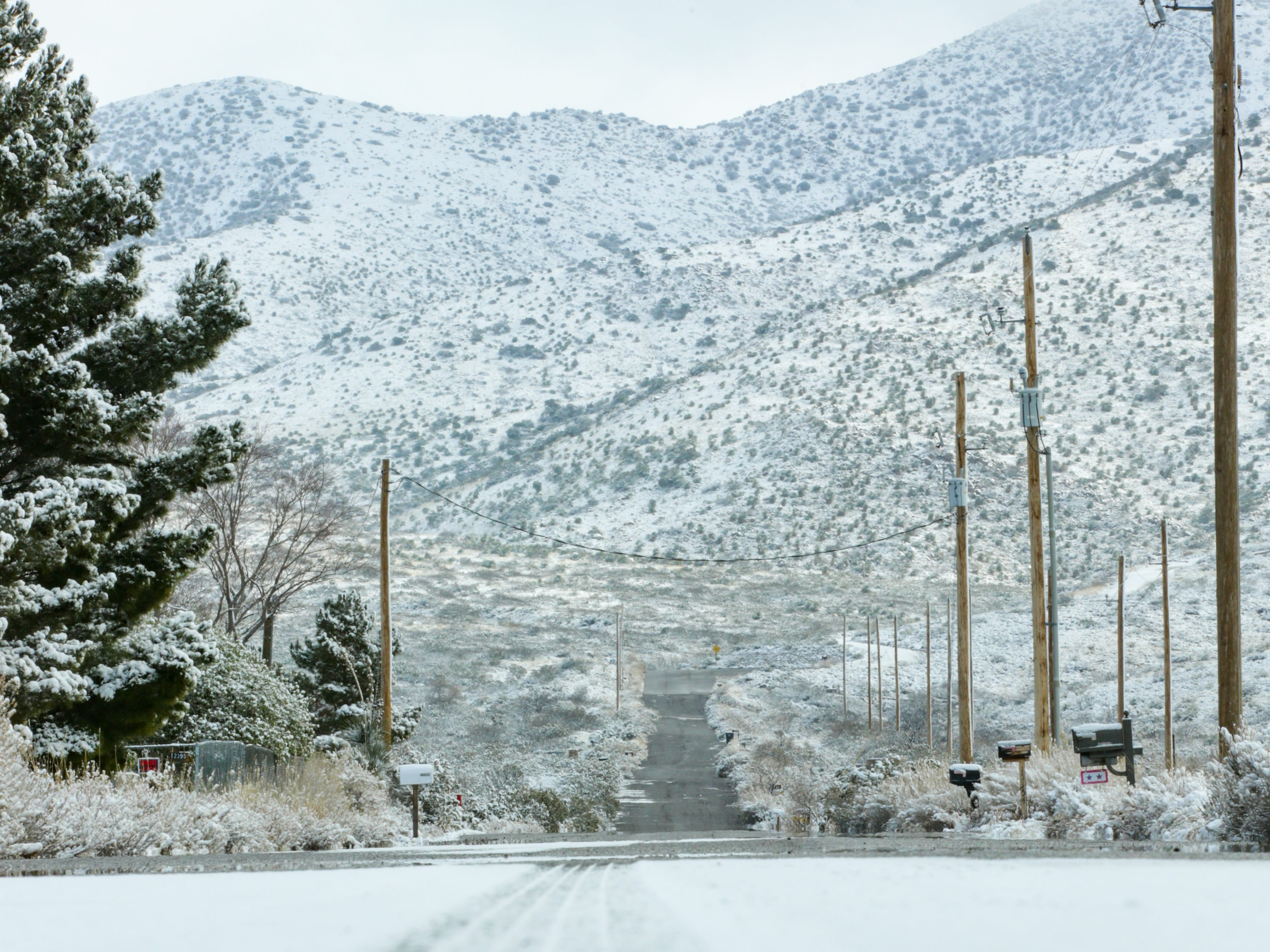 The Organ Mountains and surrounding area are covered with snow on Saturday Dec. 29, 2019.