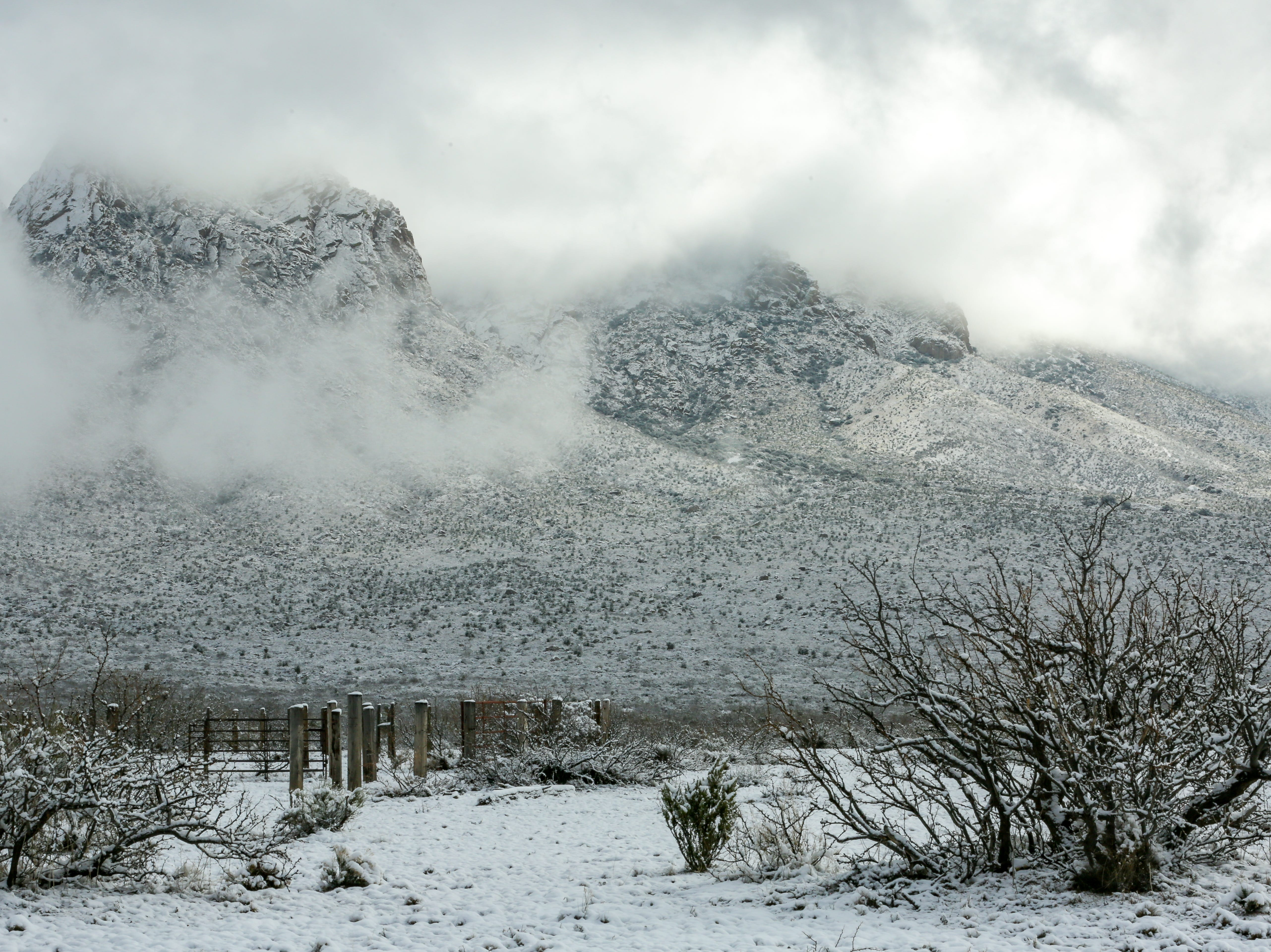 The Organ Mountains are covered with snow on Saturday Dec. 29, 2019.