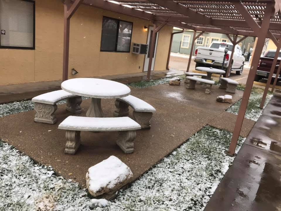 An courtyard gets a layer of snow, Dec. 29, 2018 at an apartment complex North Alameda Street in Carlsbad.